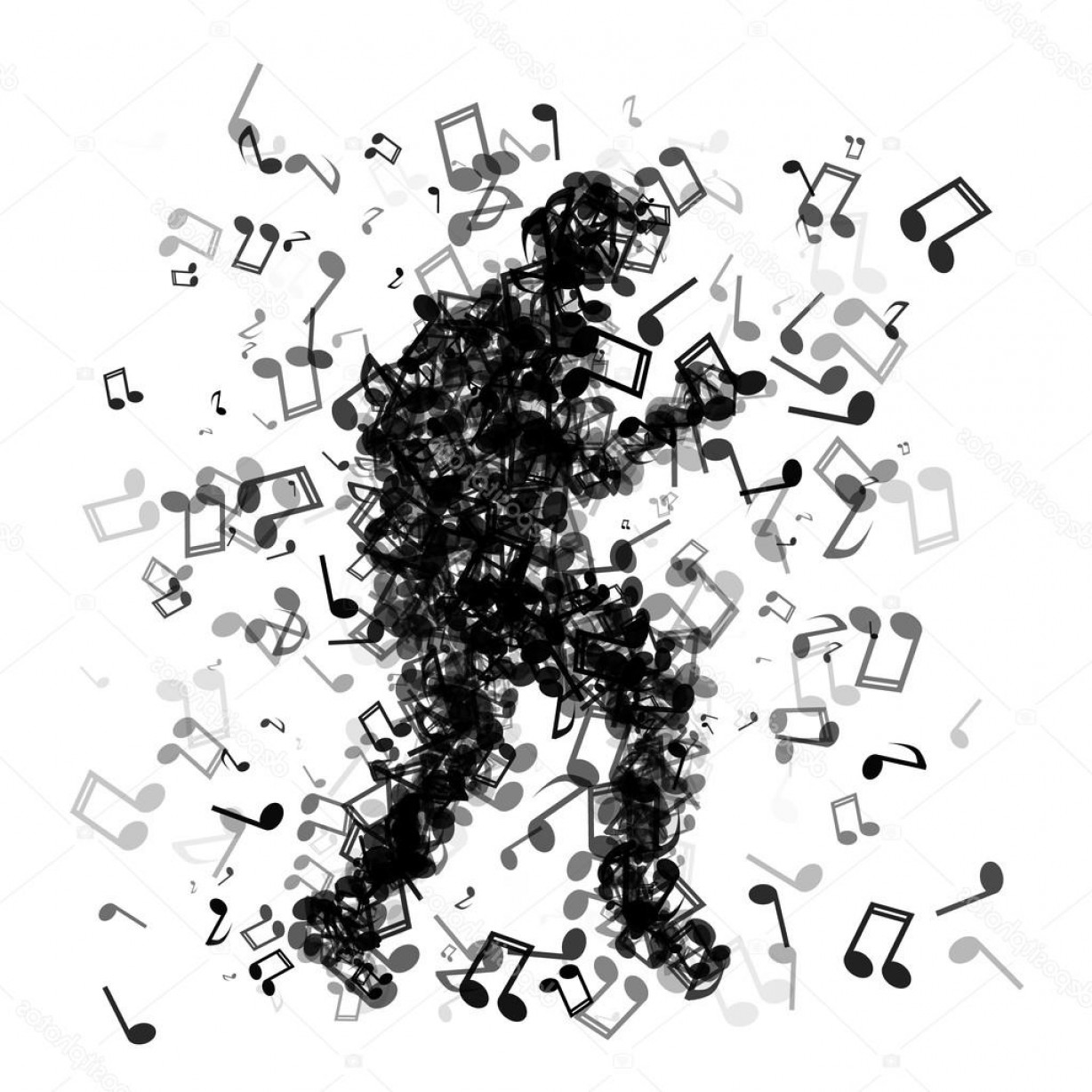 Dancing Musical Notes Vector: Stock Illustration Man Made Of Music Notes