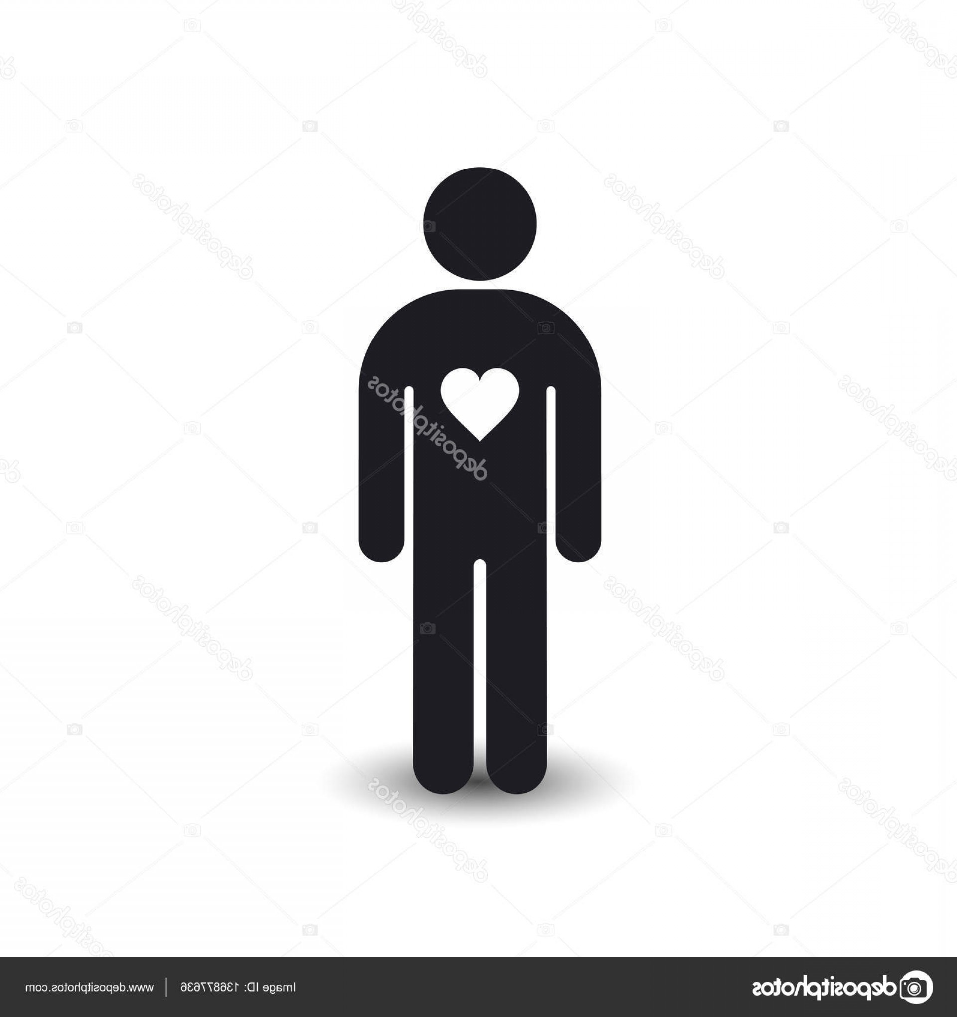 Vector Silhouette Love: Stock Illustration Man Stature With Heart Icon