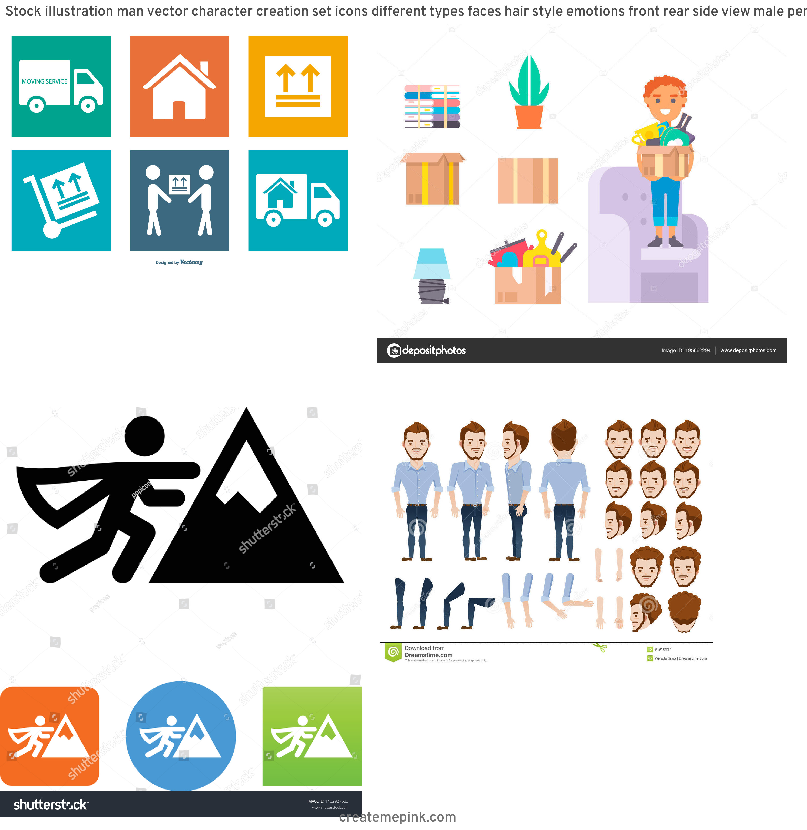 Vector Person Moving: Stock Illustration Man Vector Character Creation Set Icons Different Types Faces Hair Style Emotions Front Rear Side View Male Person Image