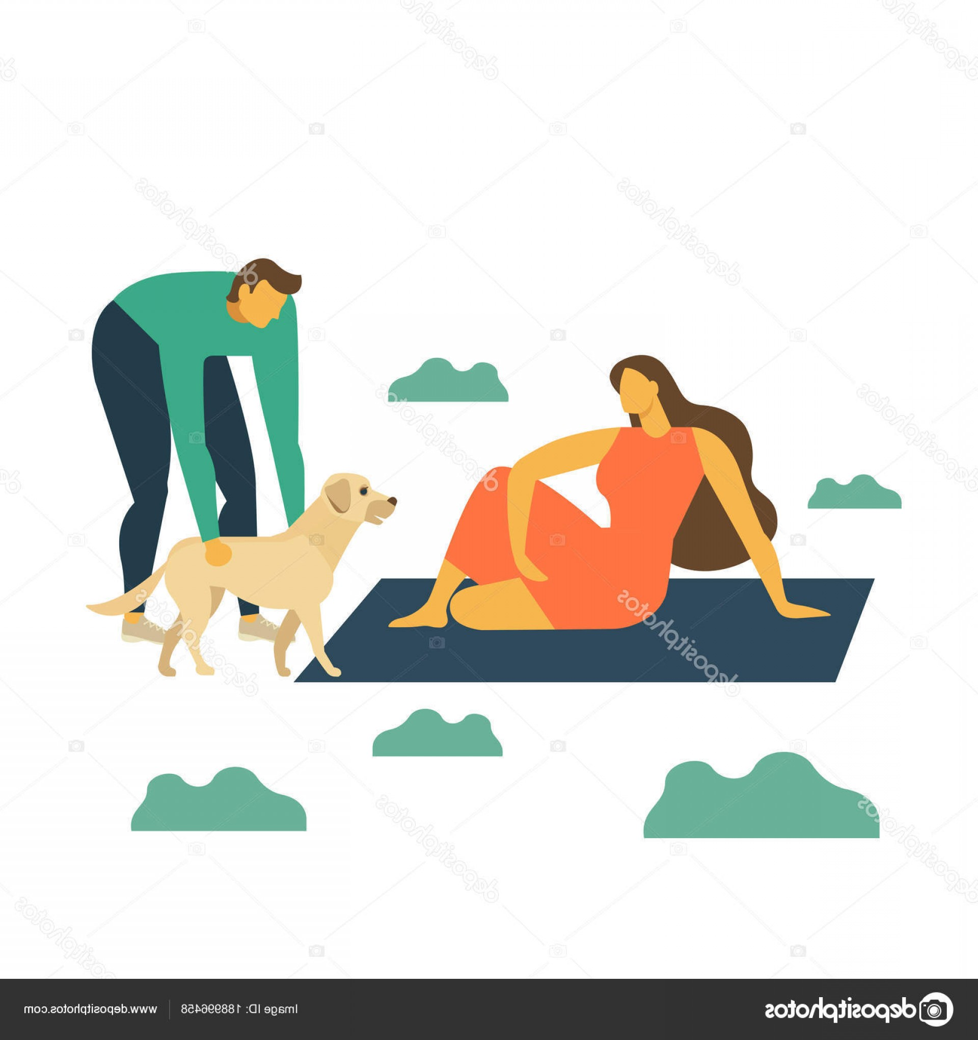California Lifestyle Vector: Stock Illustration Man Woman Dog Resting Nature