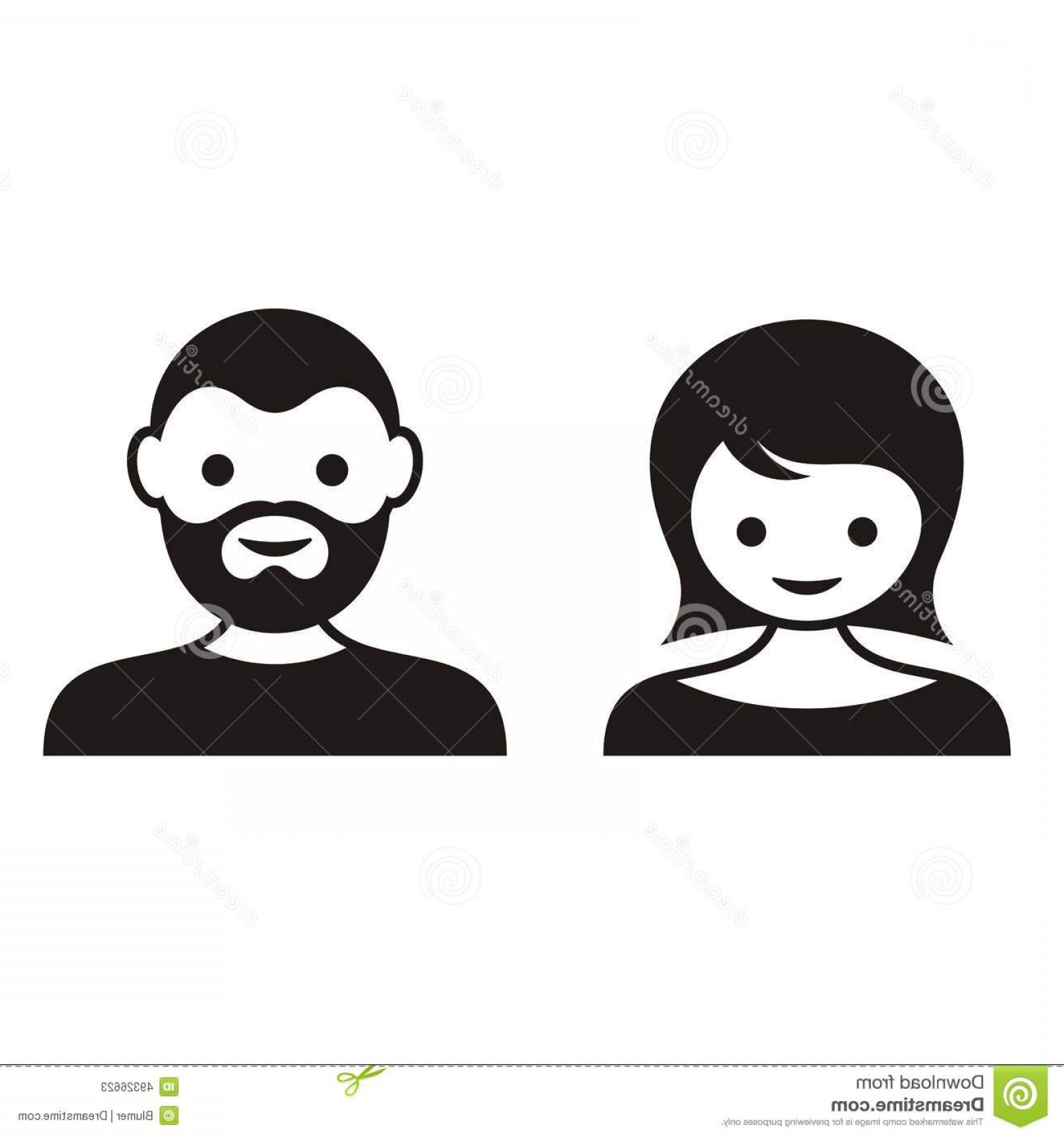 Male Face Icon Vector: Stock Illustration Man Woman Face Icons Black Cute Image