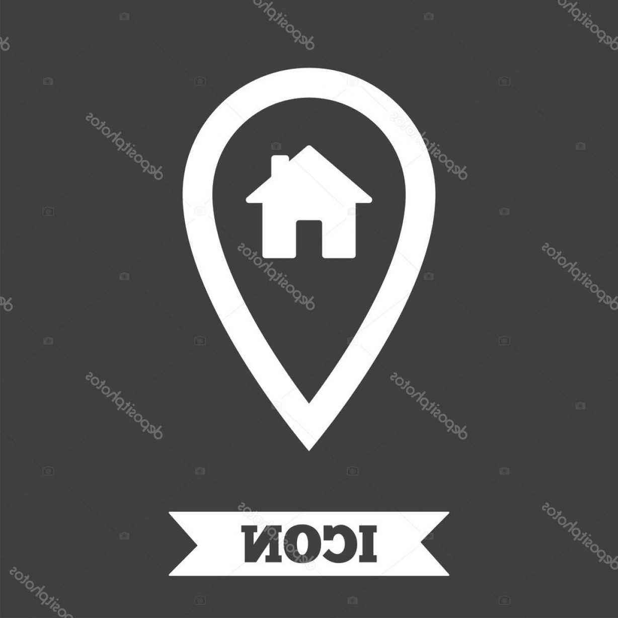 Vector House Sign: Stock Illustration Map Pointer House Sign Icon