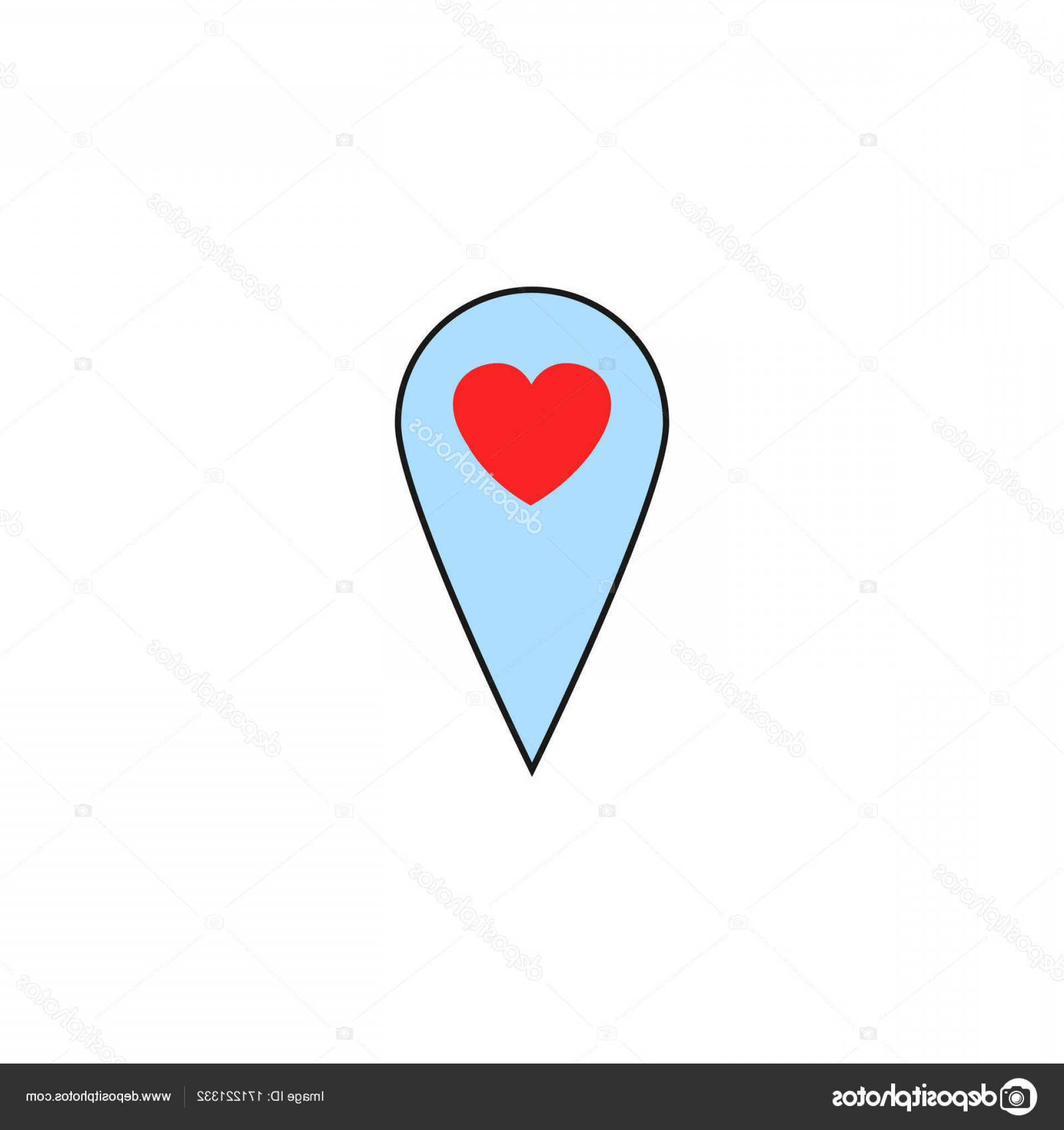 Solid Heart Vector Drawing: Stock Illustration Map Pointer With Heart Solid