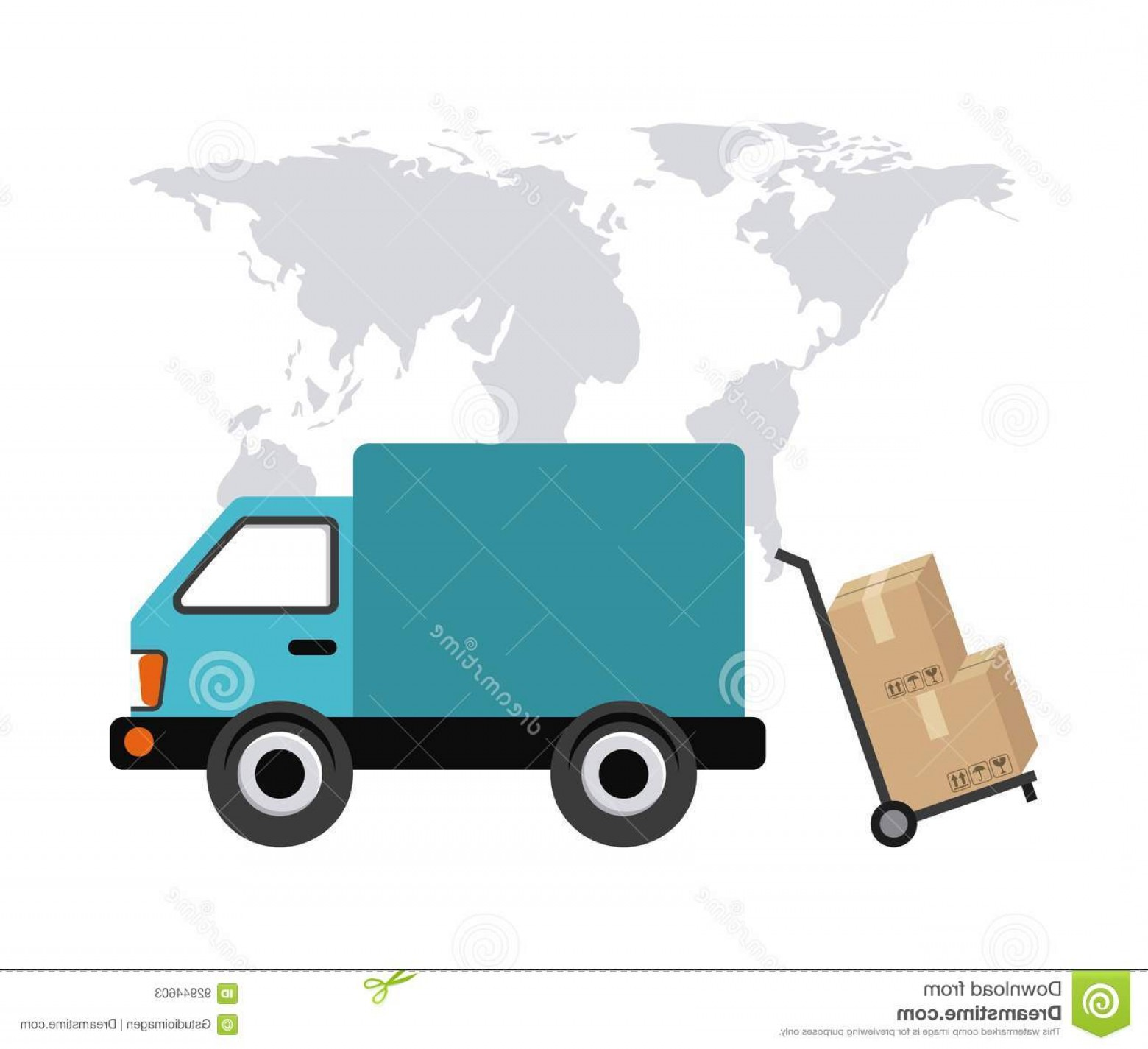 Packages On A Truck Vector: Stock Illustration Map Truck Package Icon Delivery Shipping Design Vector Concept Represented Colorfull Flat Illustration Image