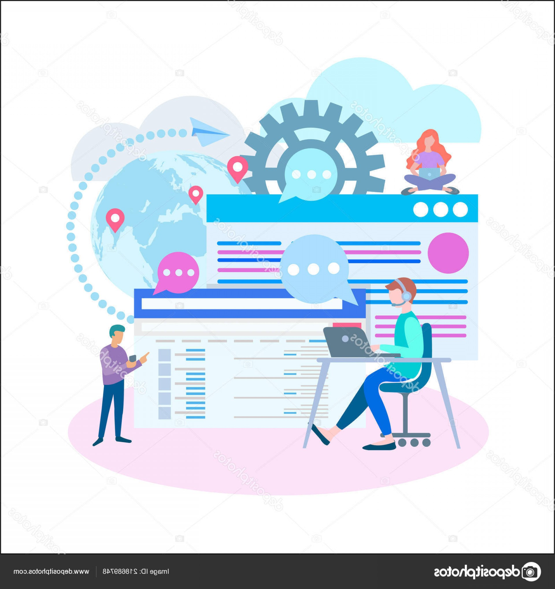 Vector Applications On Computers: Stock Illustration Marketers Work Online Computers Mobile