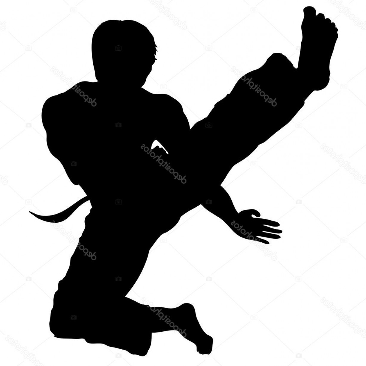 Karate Vector: Stock Illustration Martial Arts Karate Jump