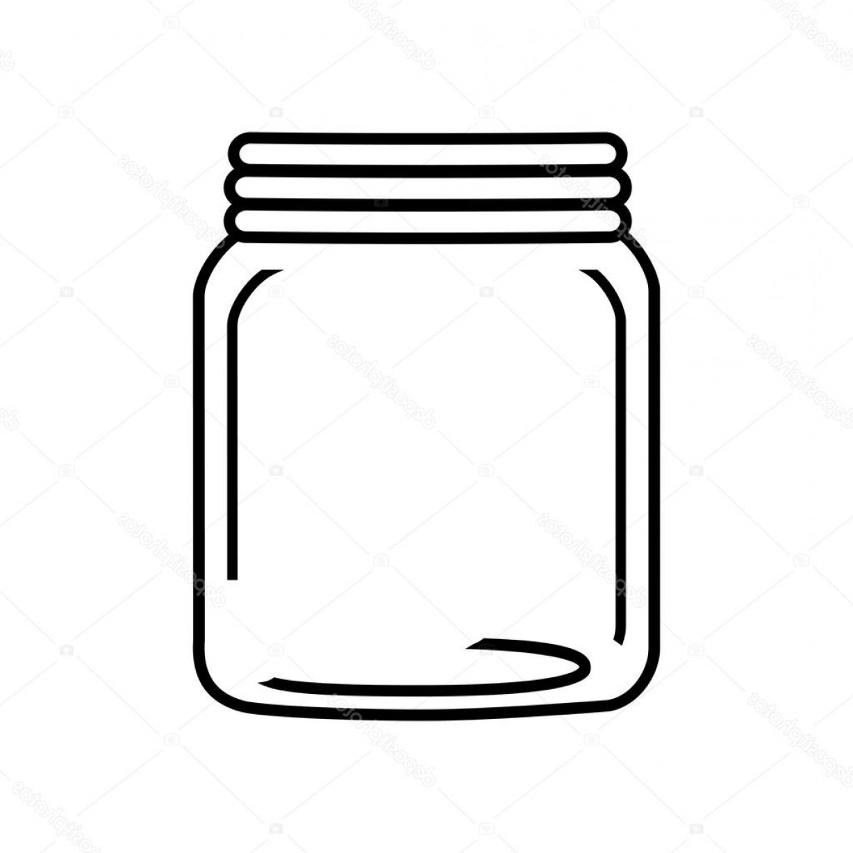 Mason Jar Outline Vector: Stock Illustration Mason Jar Glass Rustic Can
