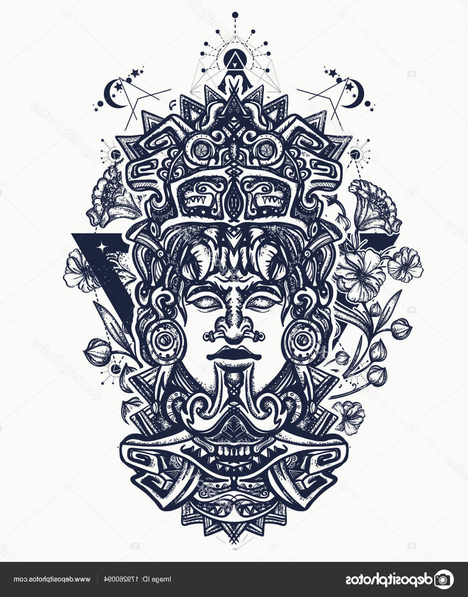 Mayan Vector: Stock Illustration Mayan Tattoo Shirt Design Indian