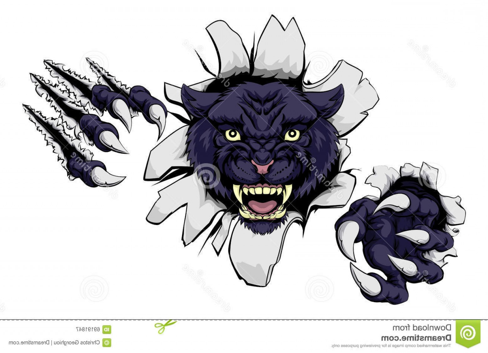 Panther Mascot Vector Sports: Stock Illustration Mean Black Panther Mascot Cartoon Sports Ripping Wall His Claws Image