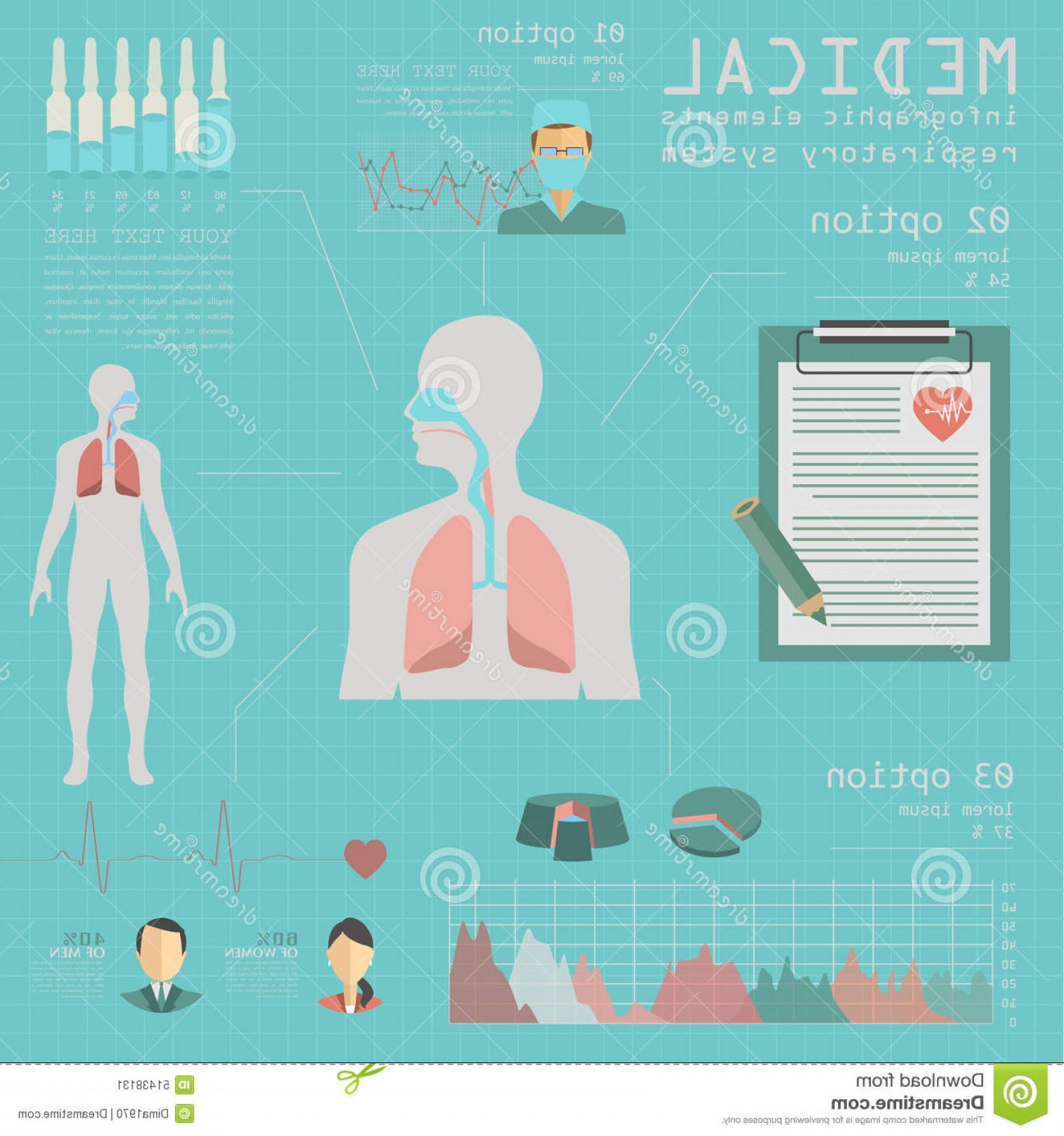 Vector System Infographic: Stock Illustration Medical Healthcare Infographic Respiratory System Infograph Infographics Vector Illustration Image