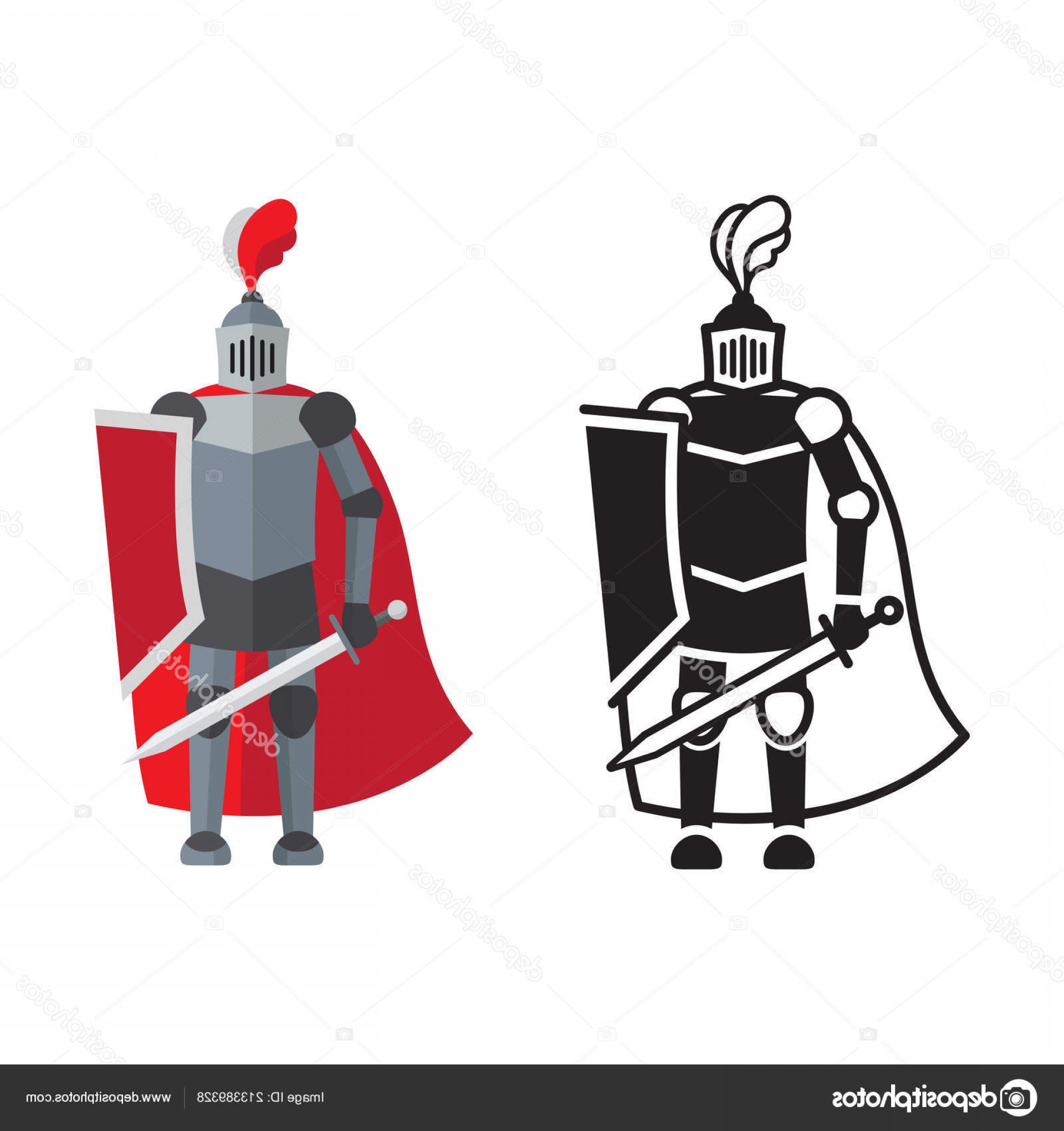 Boba Fett Silhouette Vector: Stock Illustration Medieval Knight Icon And Silhouette