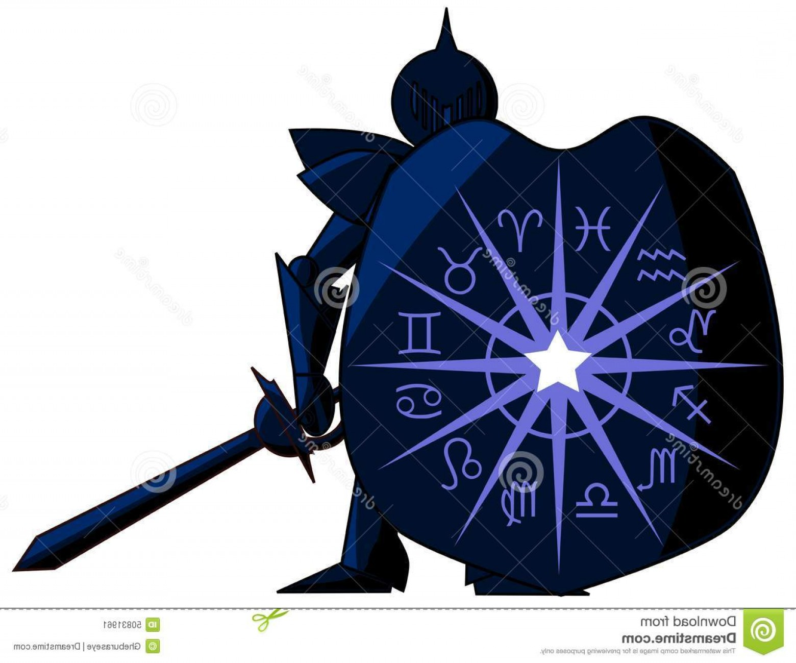 Game Of Thrones Sword Silhouette Vector: Stock Illustration Medieval Knight Zodiac Signs Illustration Representing Symbols Shield Sword Idea Can Be Used Image