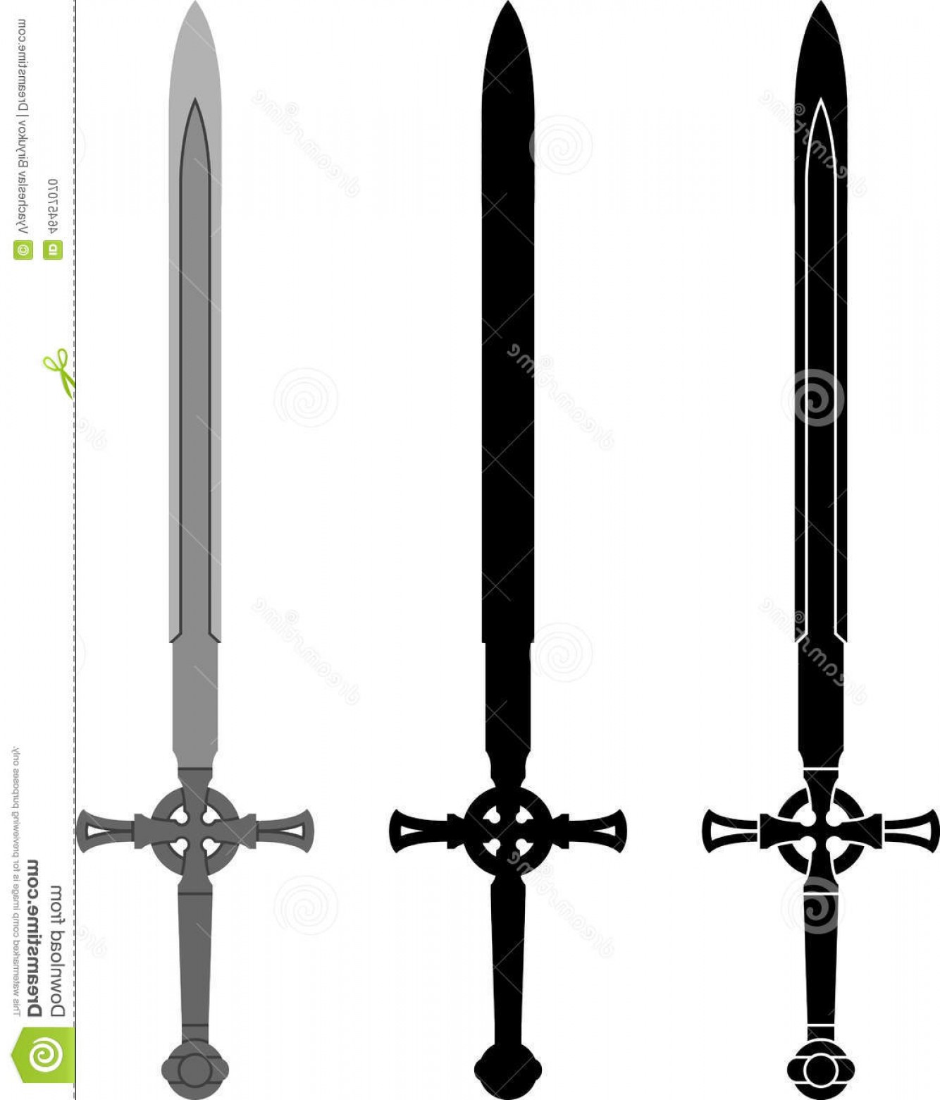 Game Of Thrones Sword Silhouette Vector: Stock Illustration Medieval Sword First Variant Stencil Silhouette Vector Illustration Image