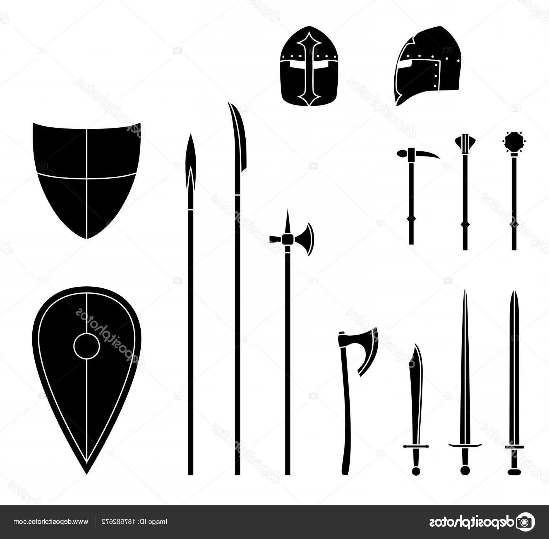 Pike Spear Vector: Stock Illustration Medieval Weapons And Armors Set