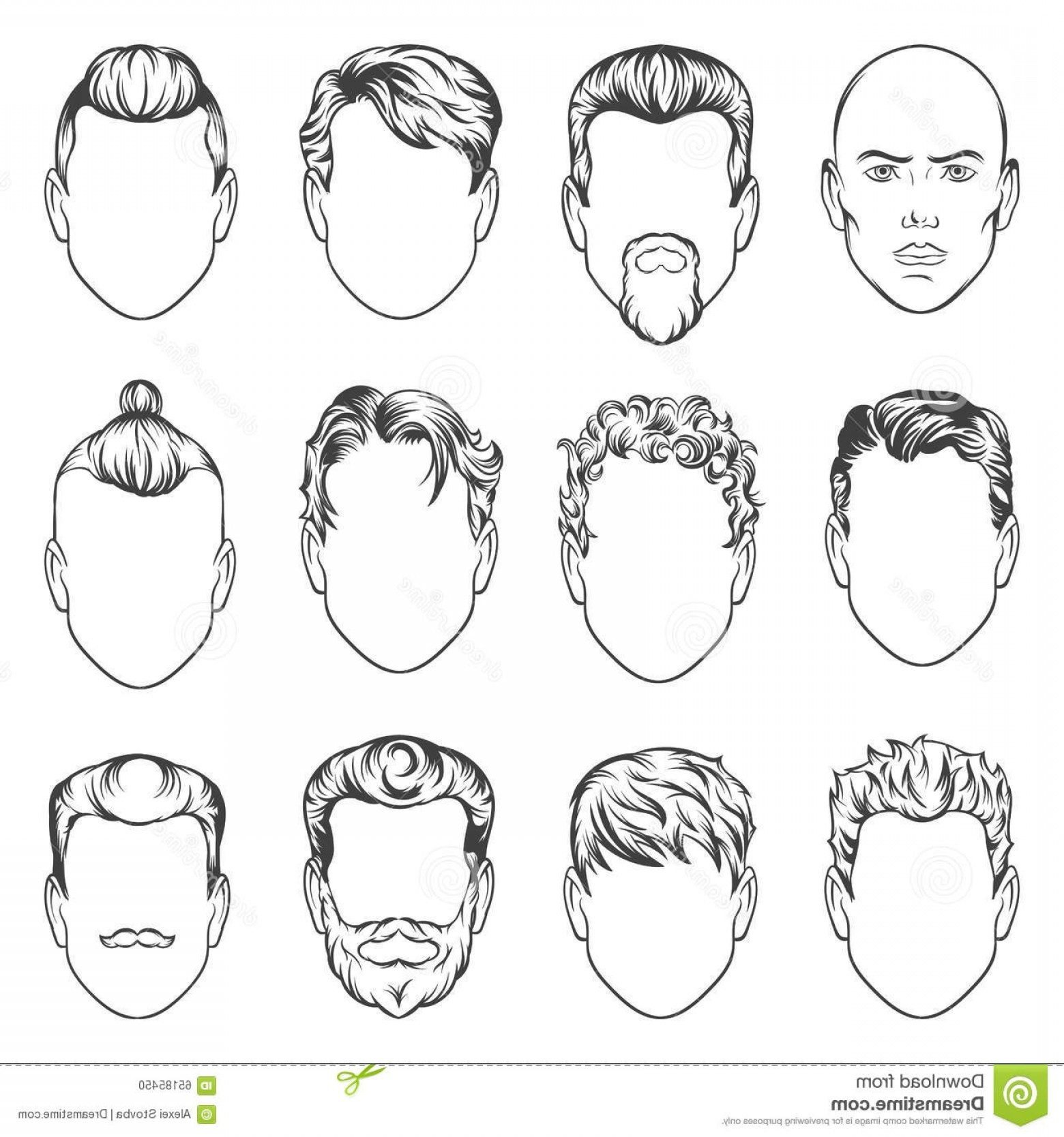 Short Men's Hair Vector: Stock Illustration Men Hairstyles Vector Illustration Hair Set Image