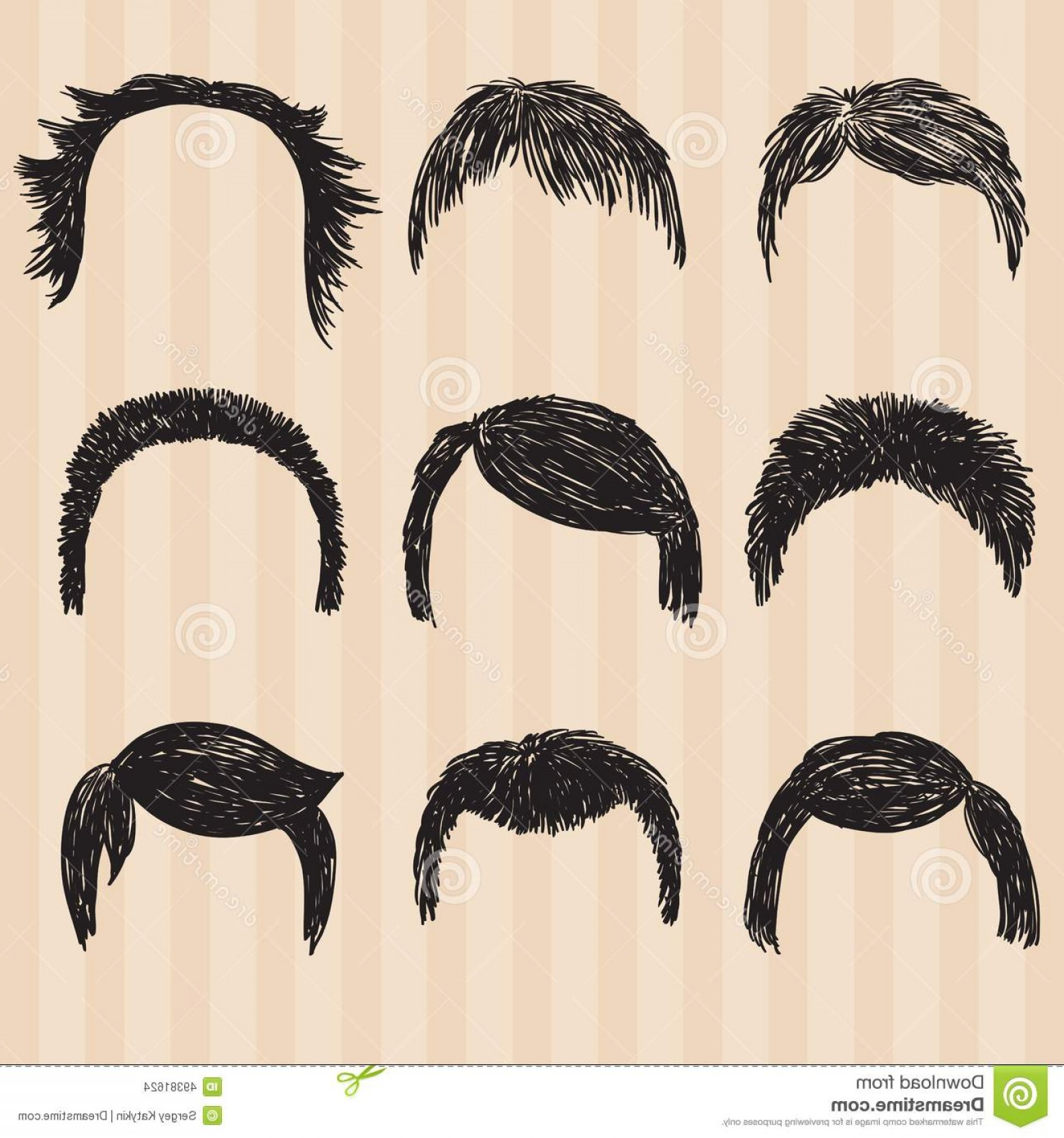Short Men's Hair Vector: Stock Illustration Mens Collection Hair Styling Retro Vector Illustration Image