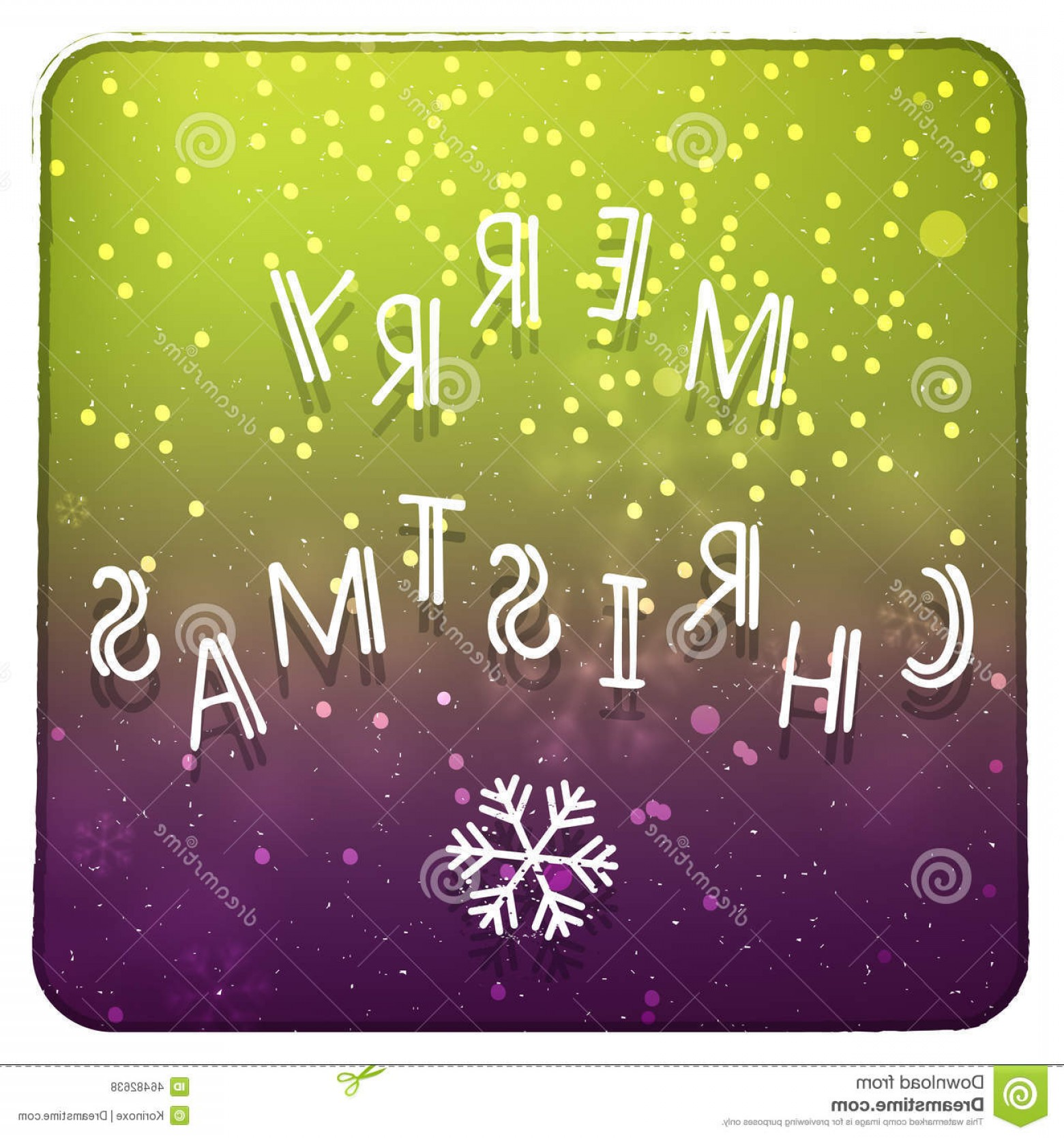Purple Green And White Vector: Stock Illustration Merry Christmas Purple Green Invitation Card Vector Hand Drawn White Letters Glitter Snowflake Image