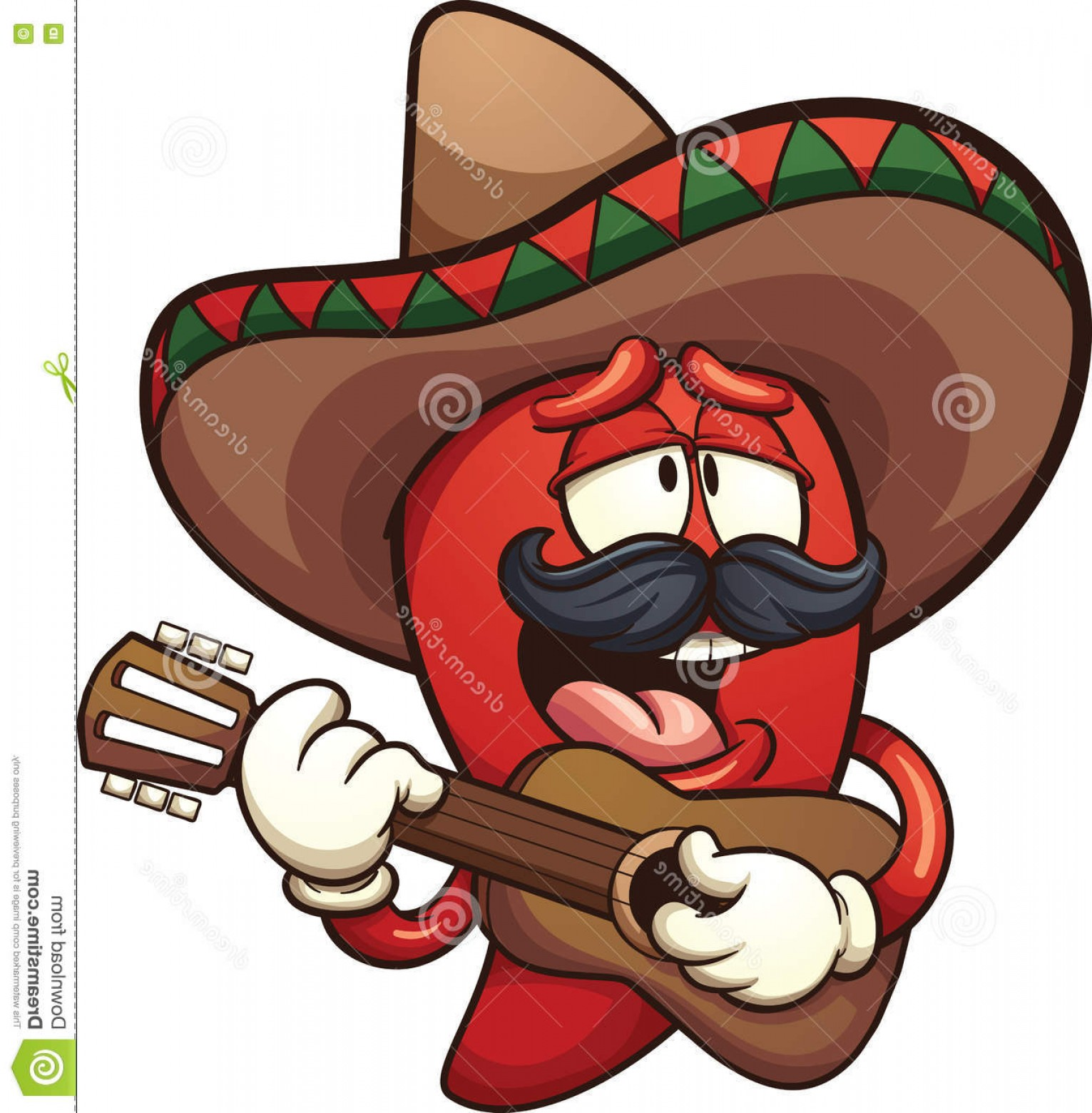 Vector Mexican Chili: Stock Illustration Mexican Chili Pepper Singing Guitar Vector Clip Art Illustration Simple Gradients All Single Layer Image