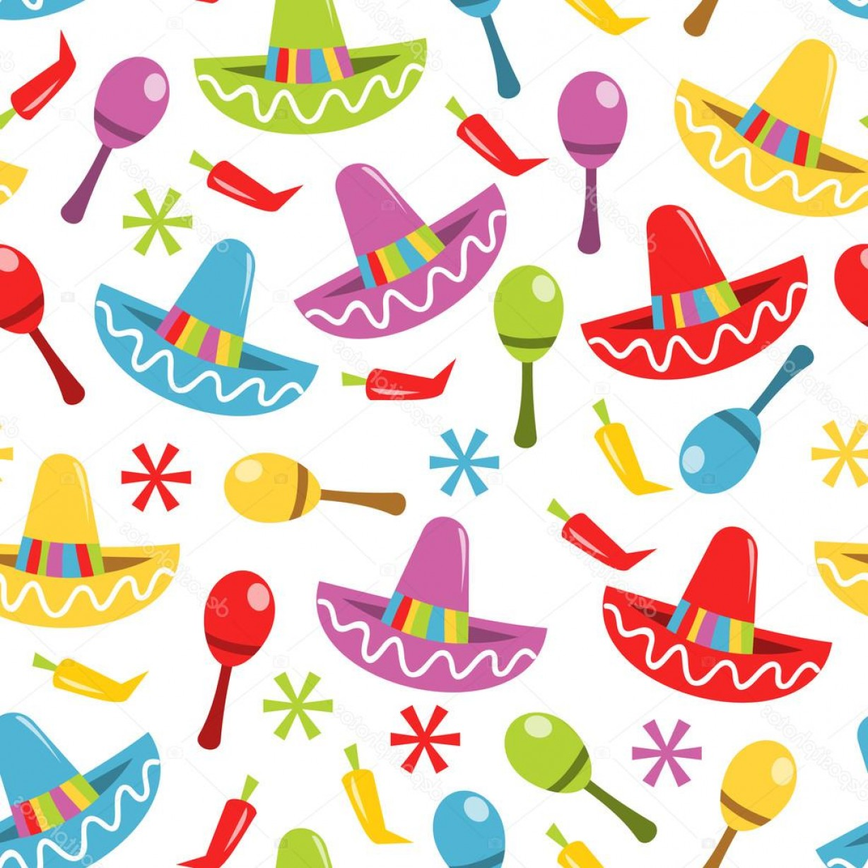 Fiesta Mexico Vector: Stock Illustration Mexican Fiesta Seamless Pattern Background