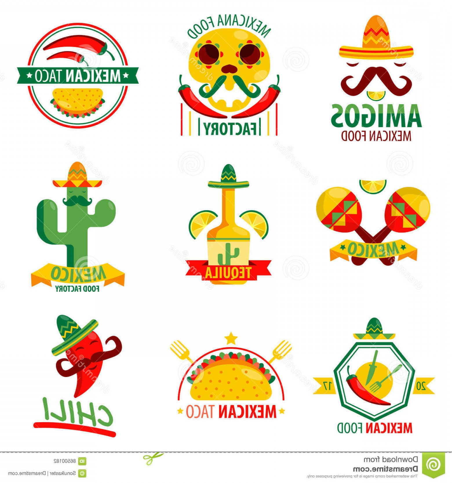 Vector Mexican Tacos: Stock Illustration Mexican Food Logo Emblems Vector Poster White Drinks Collection Ethnic Cuisine Colorful Label Menu Elements Image