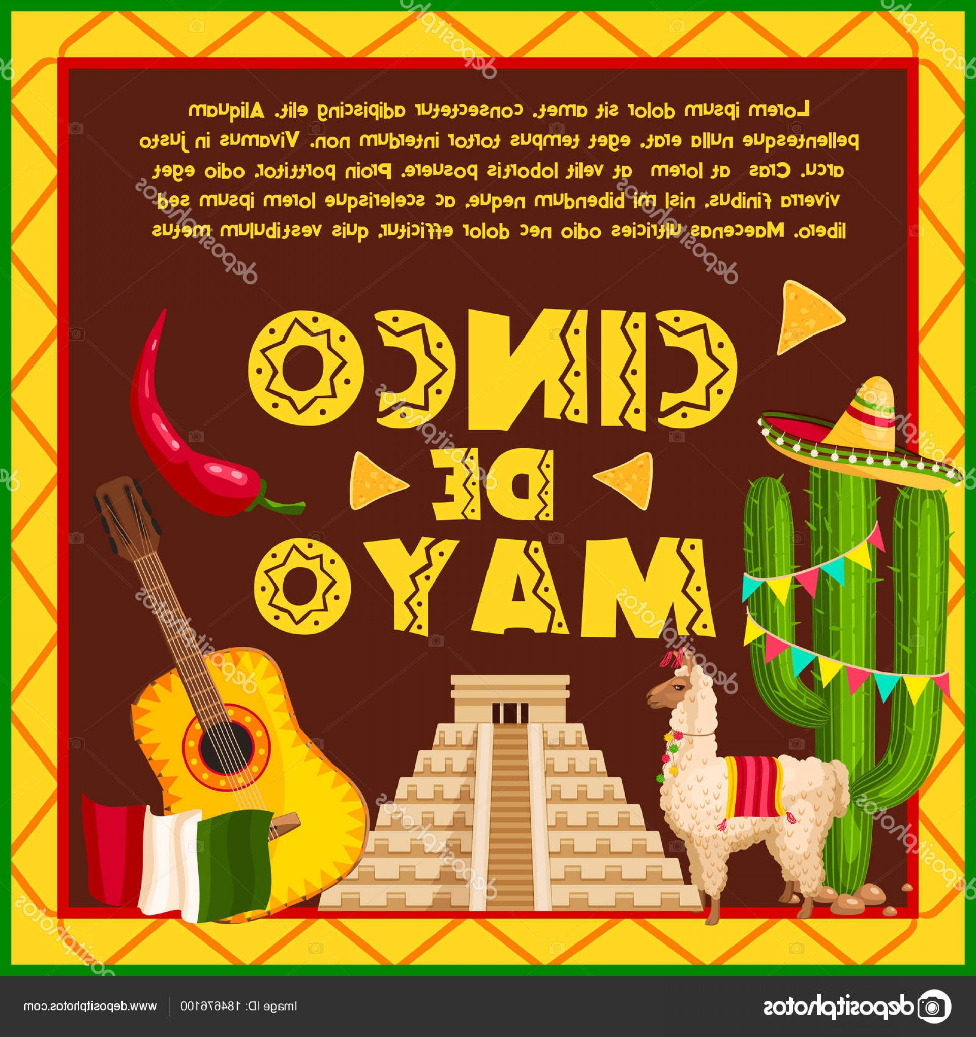 Aztec Cactus Vector: Stock Illustration Mexican Holiday Card For Cinco