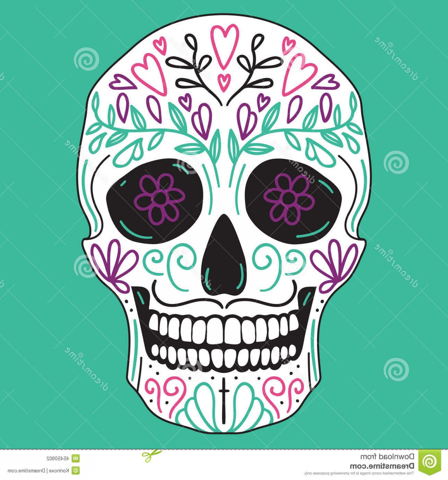 His And Hers Skulls Vector: Stock Illustration Mexican Simple Sugar Skull Vector White Floral Decoration Turquoise Background Image