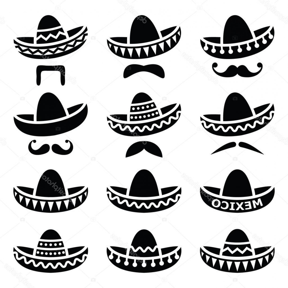 Sombrero Hat Vector: Stock Illustration Mexican Sombrero Hat With Moustache