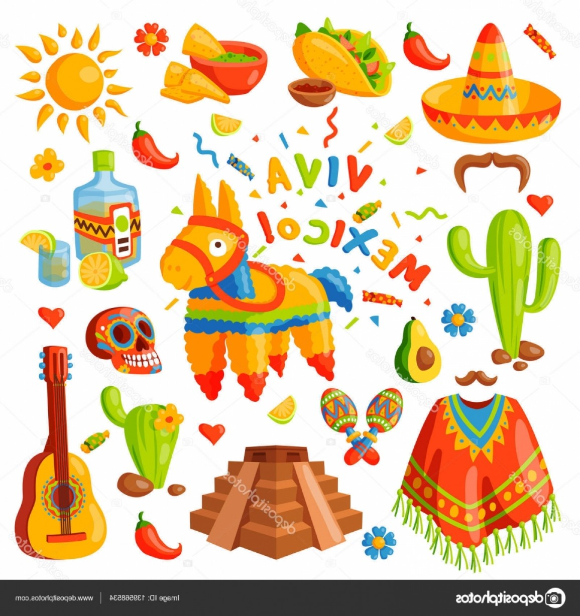 Fiesta Mexico Vector: Stock Illustration Mexico Icons Vector Illustration