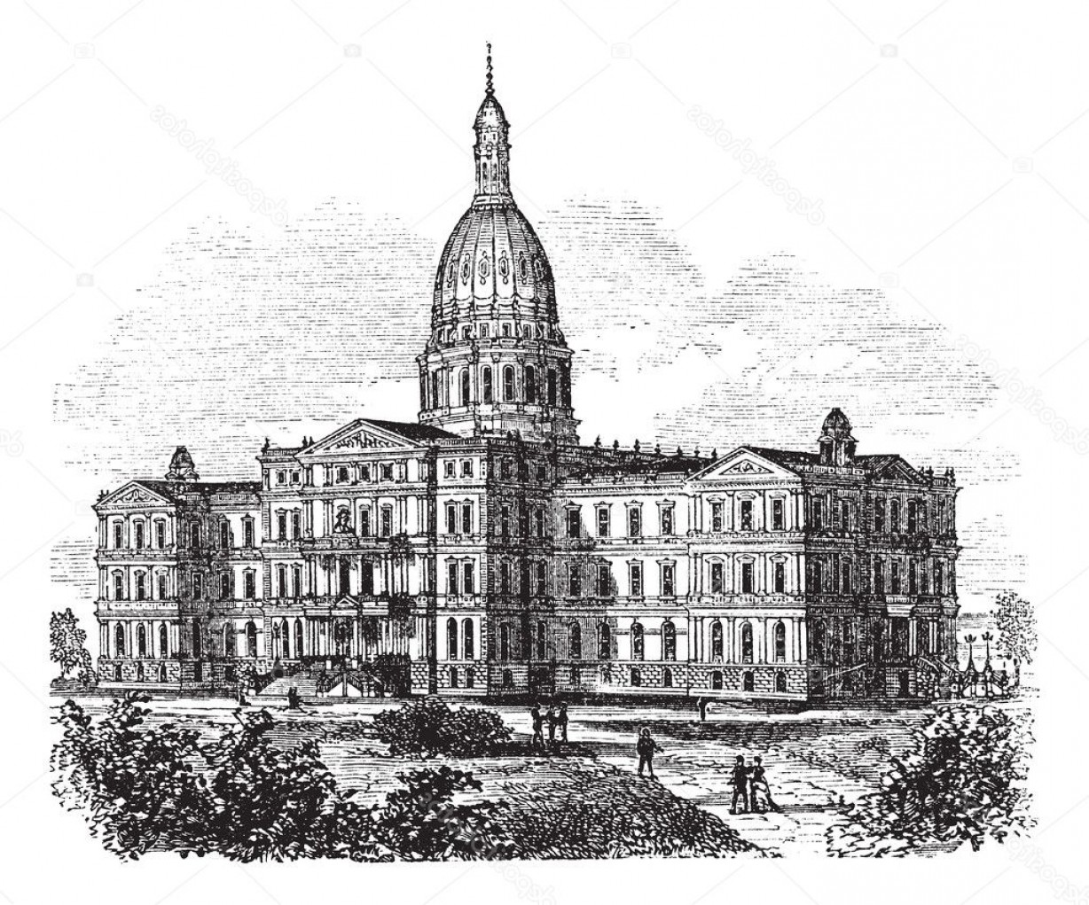 Michigan Vector Artwork: Stock Illustration Michigan State Capitol Building Lansing