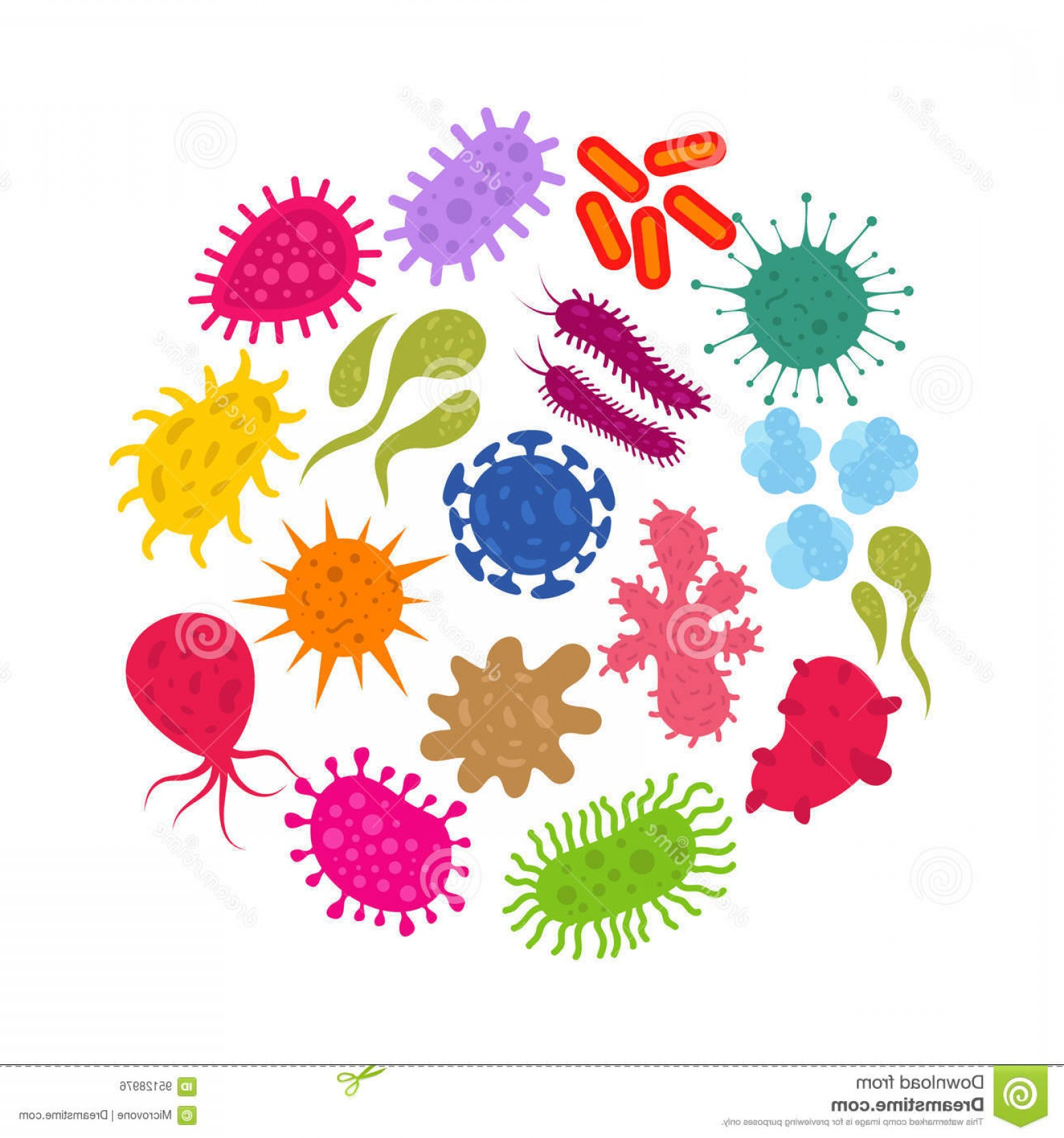 Vector -Borne Infection: Stock Illustration Microorganism Primitive Infection Virus Bacteria Germs Vector Icons Illustration Image