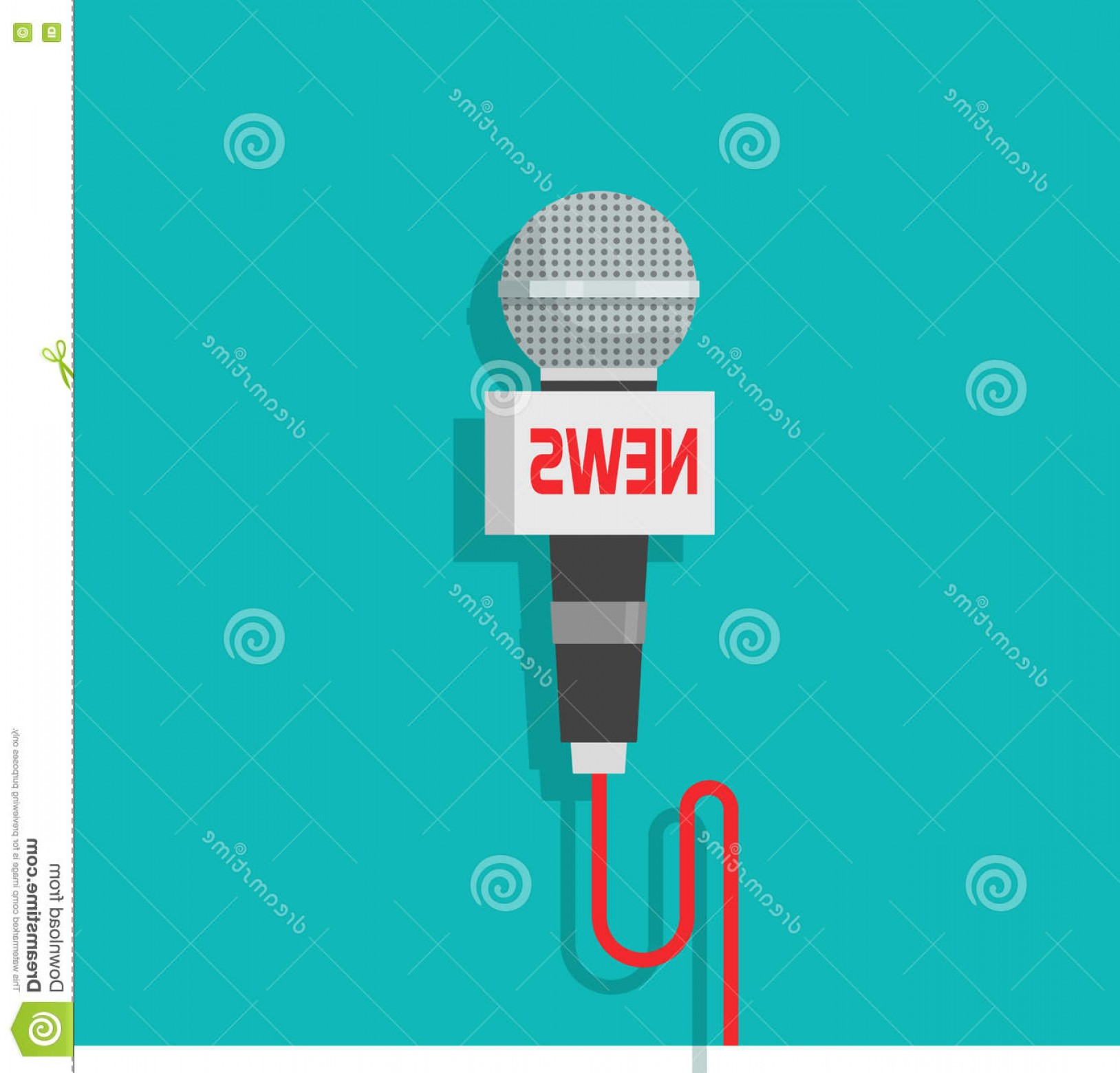 News Microphone Icon Vector: Stock Illustration Microphone Vector Icon Isolated Blue Color Background Flat Mic News Text Image