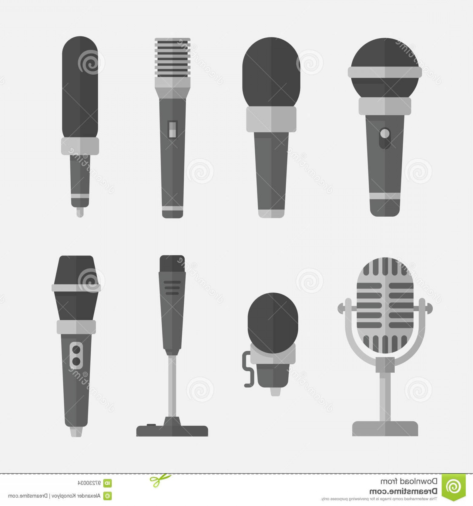 Mics Vector Designs: Stock Illustration Microphones Vector Set Flat Style Isolated Background Icons To Illustrate Interview Podcast Reportage Song Image
