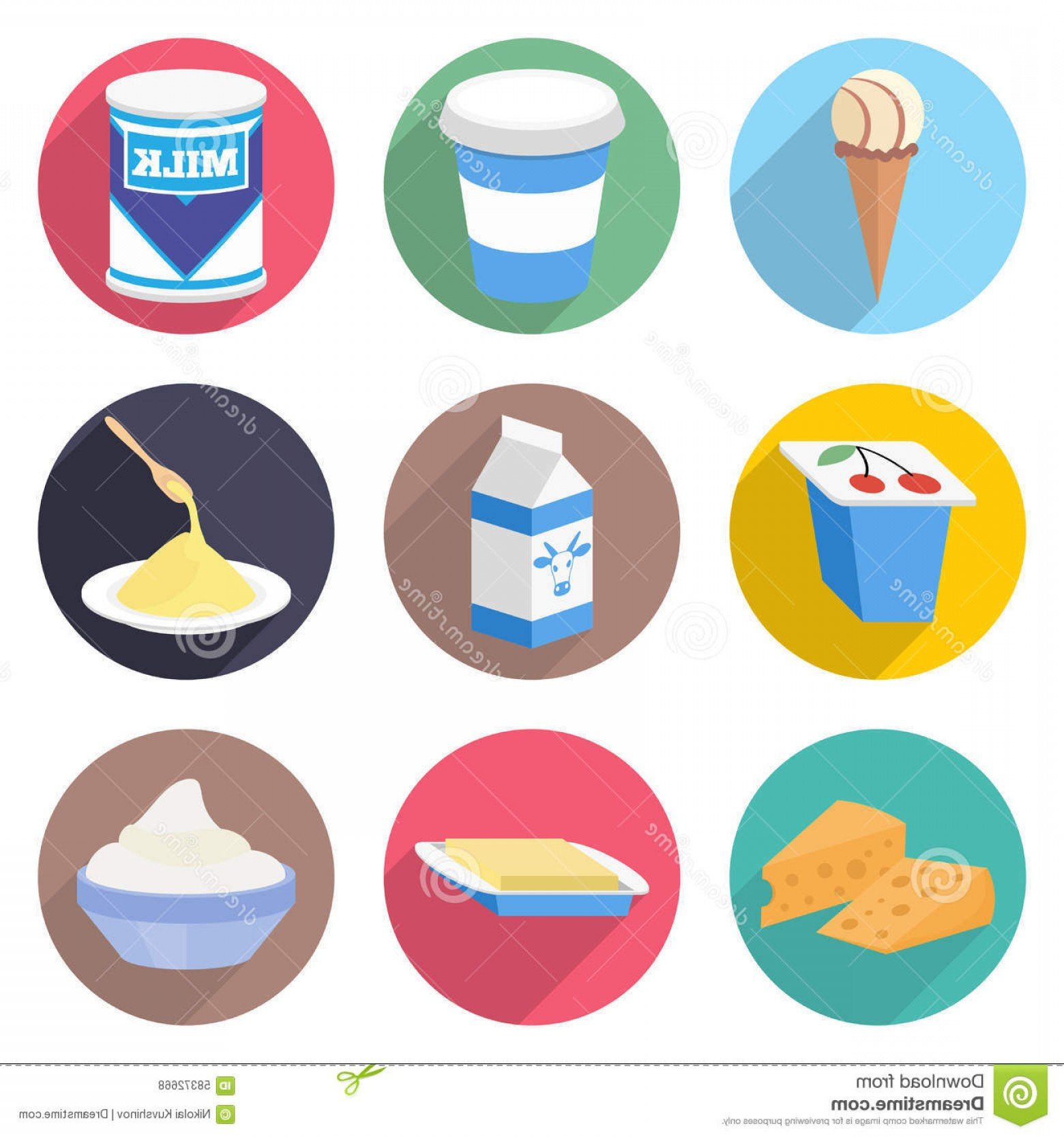Yogurt Vector: Stock Illustration Milk Products Vector Icon Set Yogurt Ice Cream Cheese Butter Image