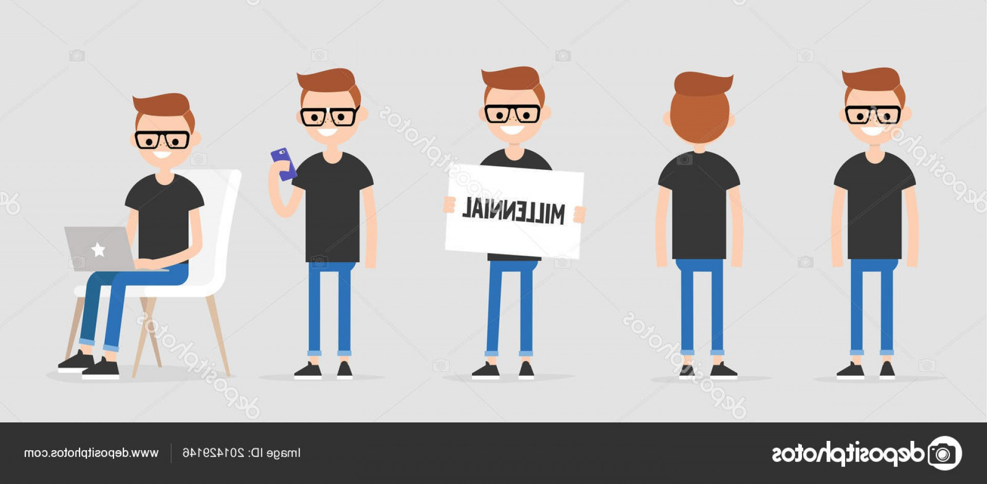 Millennial Vector: Stock Illustration Millennial Character Various Poses Front