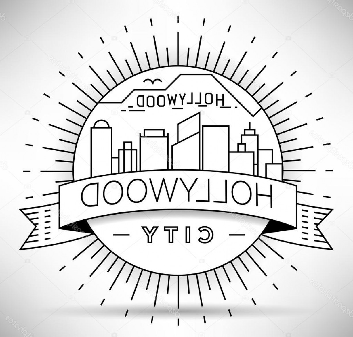Hollywood Skyline Silhouette Vector: Stock Illustration Minimal Hollywood Skyline With Typographic