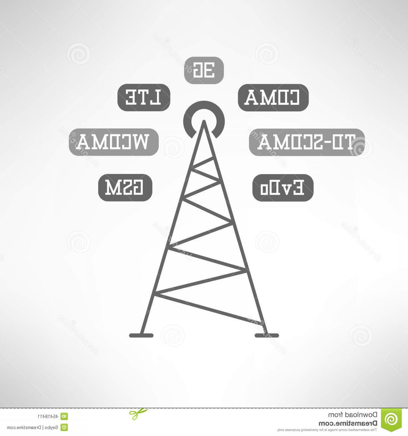 Vector Phone Tower: Stock Illustration Mobile Internet Tower Infographics Vector Signal Station Made Modern Flat Design Illustration Image