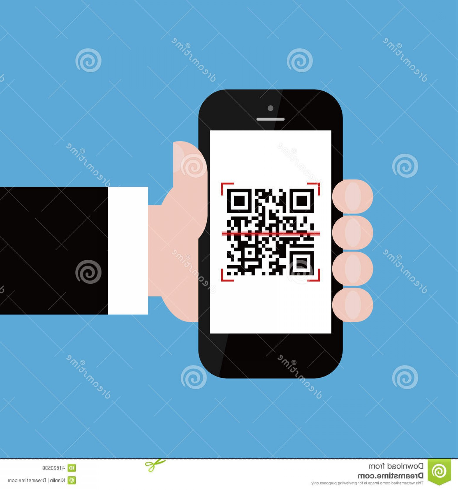 QR Mobile Phone Vector: Stock Illustration Mobile Phone Businessman Hand Scanning Qr Code Vector Illustration Image