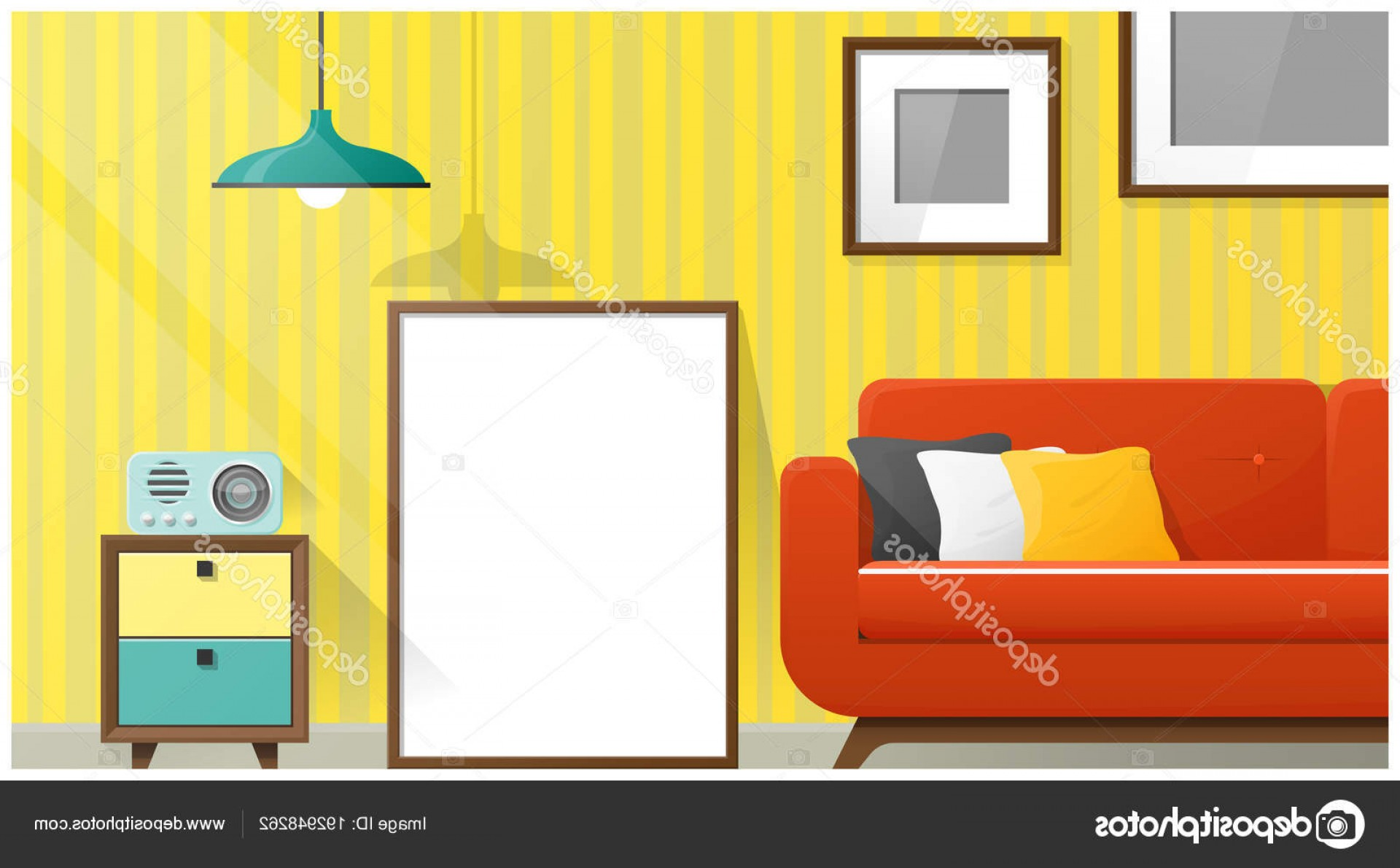 Vector Background For Living Room: Stock Illustration Mock Poster Frame Living Room