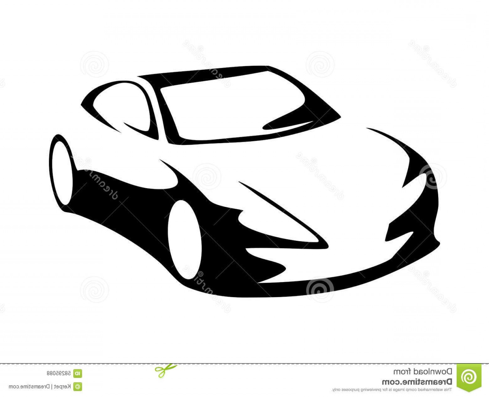 Car Silhouette Vector Free: Stock Illustration Modern Car Silhouette Vector Front View Image