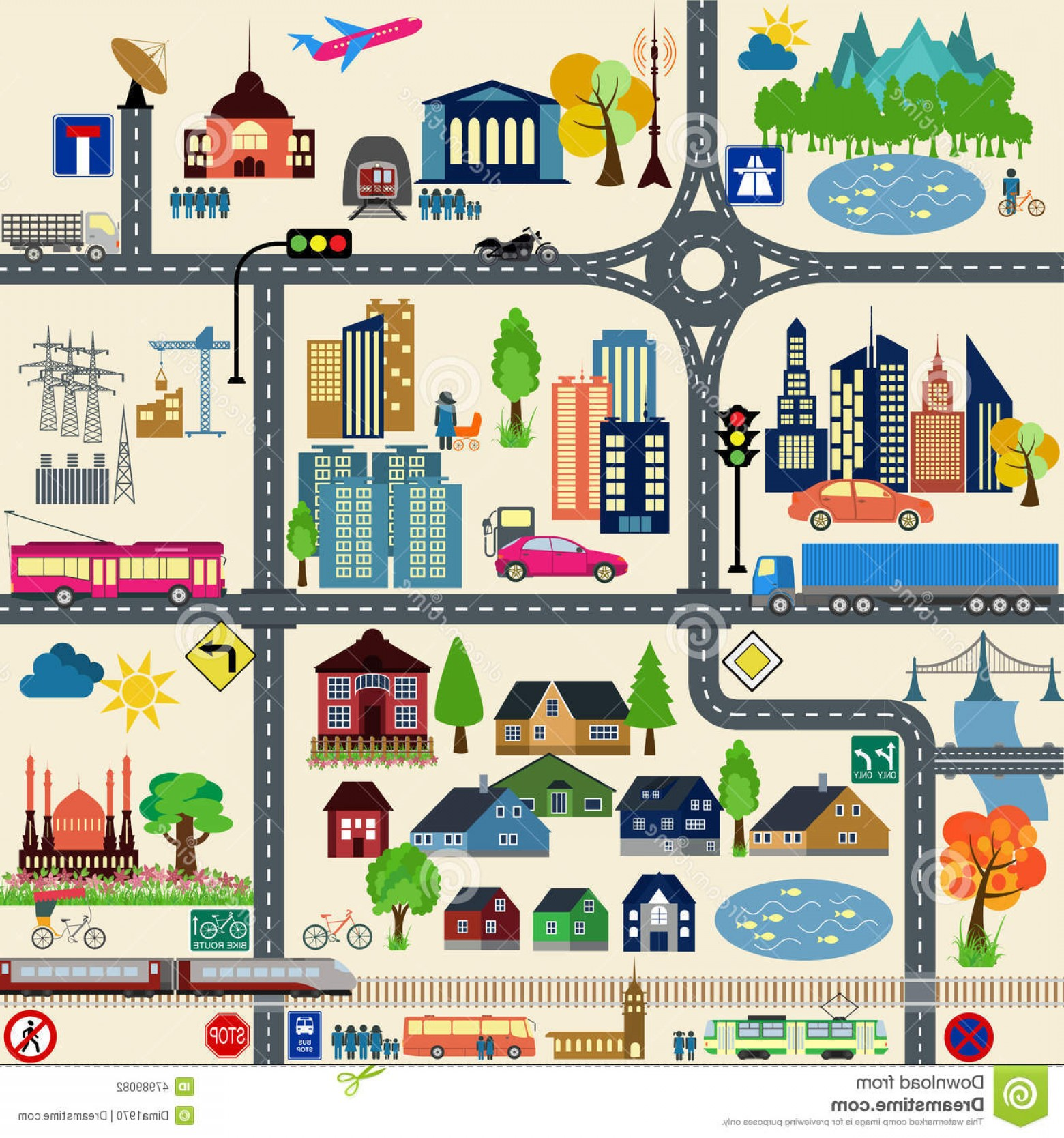 Vector Travel APS: Stock Illustration Modern City Map Elements Generating Your Own Infographics M Maps Vector Illustration Image