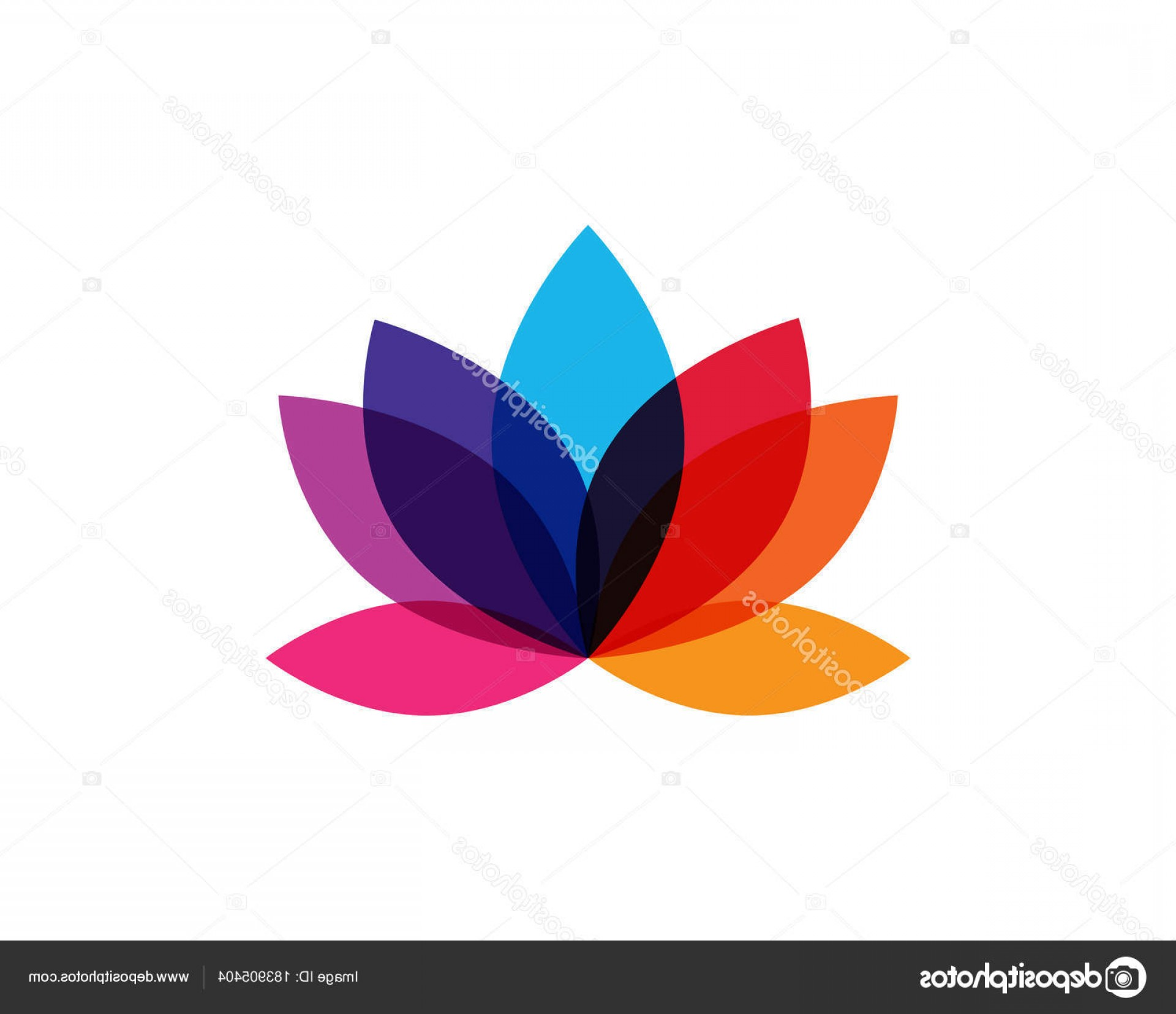 Modern Flower Logo Vector: Stock Illustration Modern Colorful Lotus Flower Logo