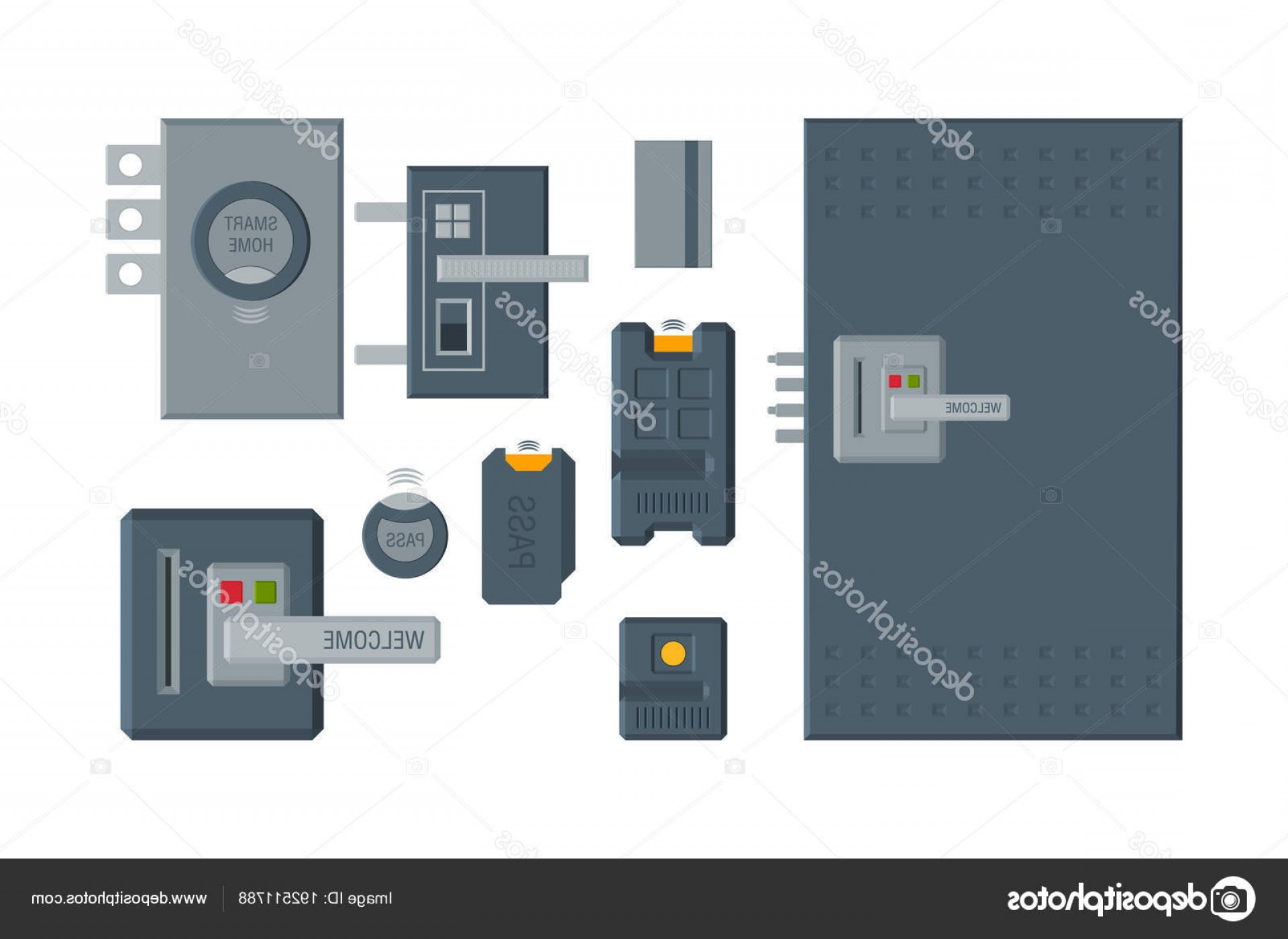 Smart Home Remote Vector: Stock Illustration Modern Doors And Locks With