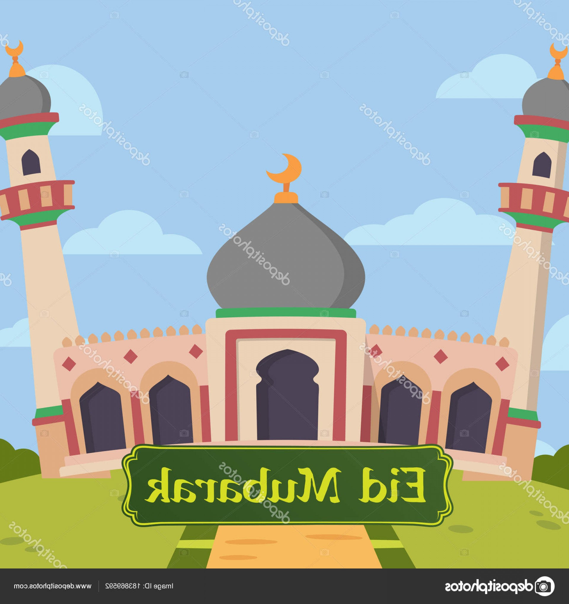 Mosque Vector Map: Stock Illustration Modern Flat Elegant Islamic Mosque