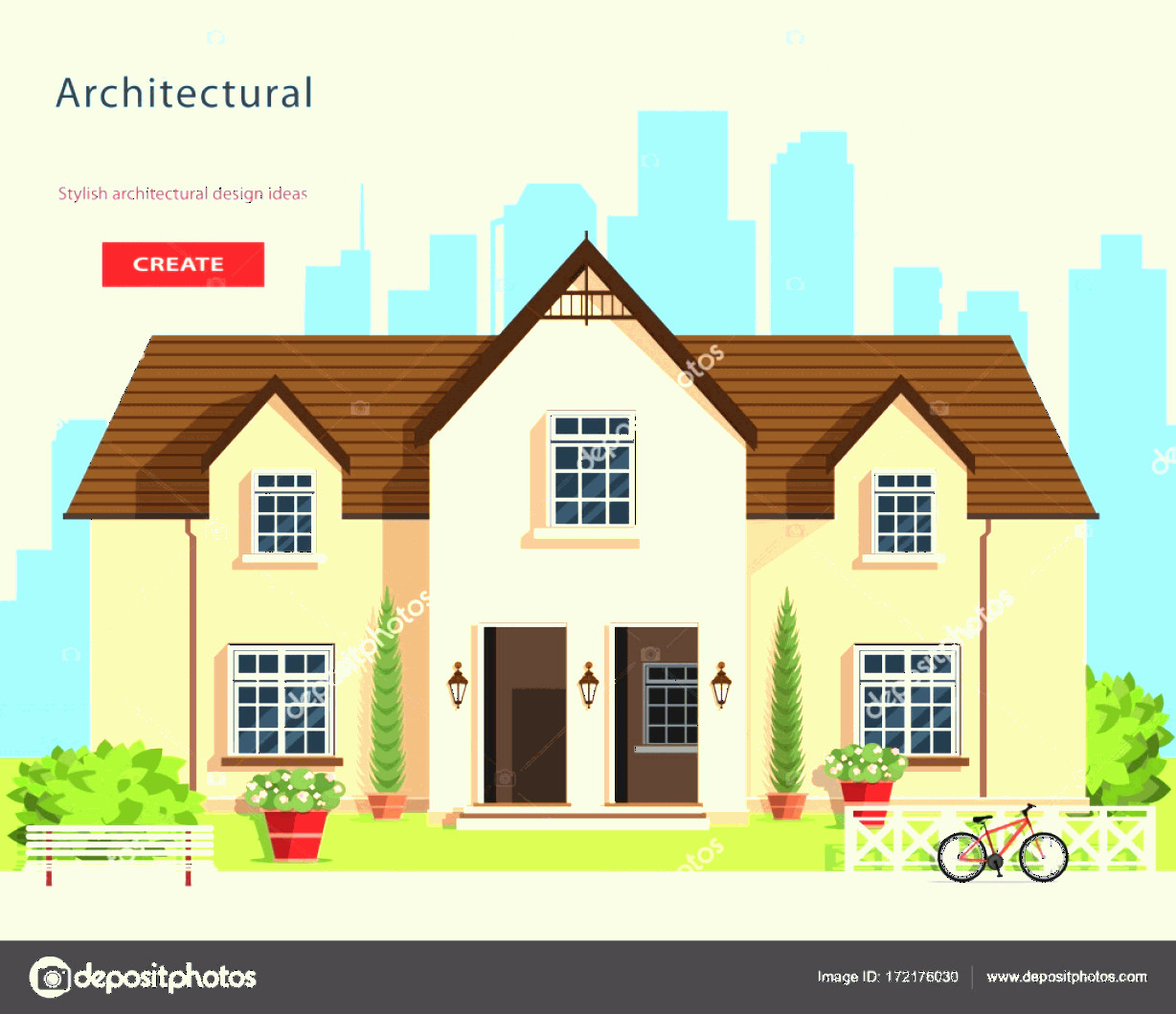 Flat Vector House: Stock Illustration Modern Graphic Architectural Design Colorful