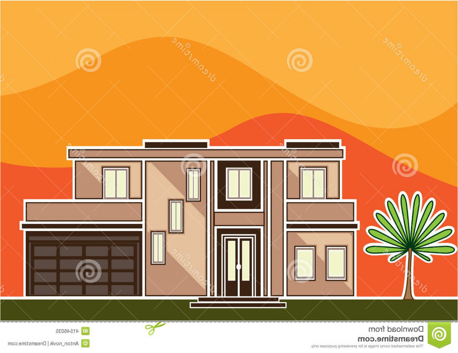House Clip Art Vector: Stock Illustration Modern House Vector Illustration Clip Art Image