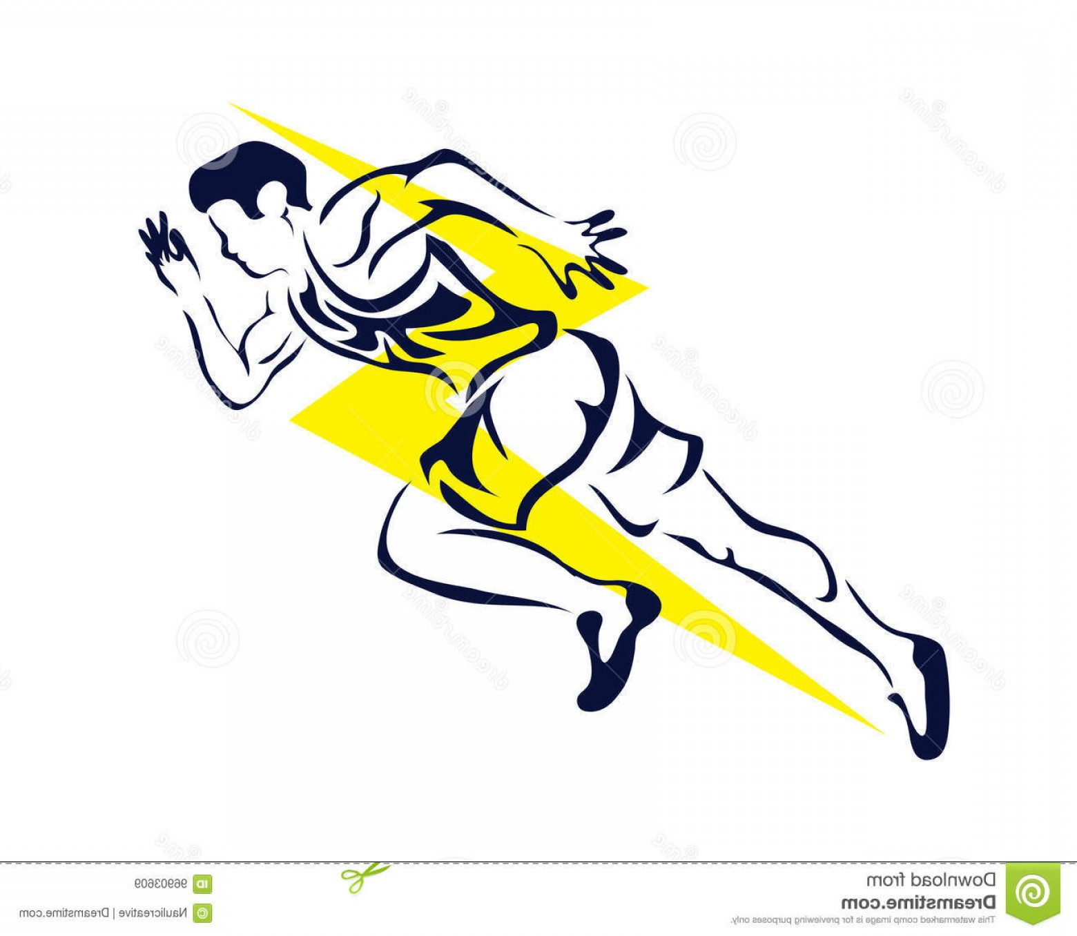 Sprint Logo Vector: Stock Illustration Modern Passionate Runner Silhouette Action Logo Young Athlete Sprint Pose Image