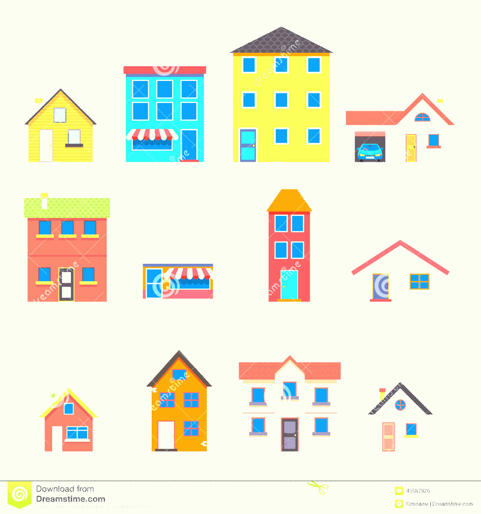 Flat Vector House: Stock Illustration Modern Trendy Retro House Street Flat Icons Set Vector Illustration Image