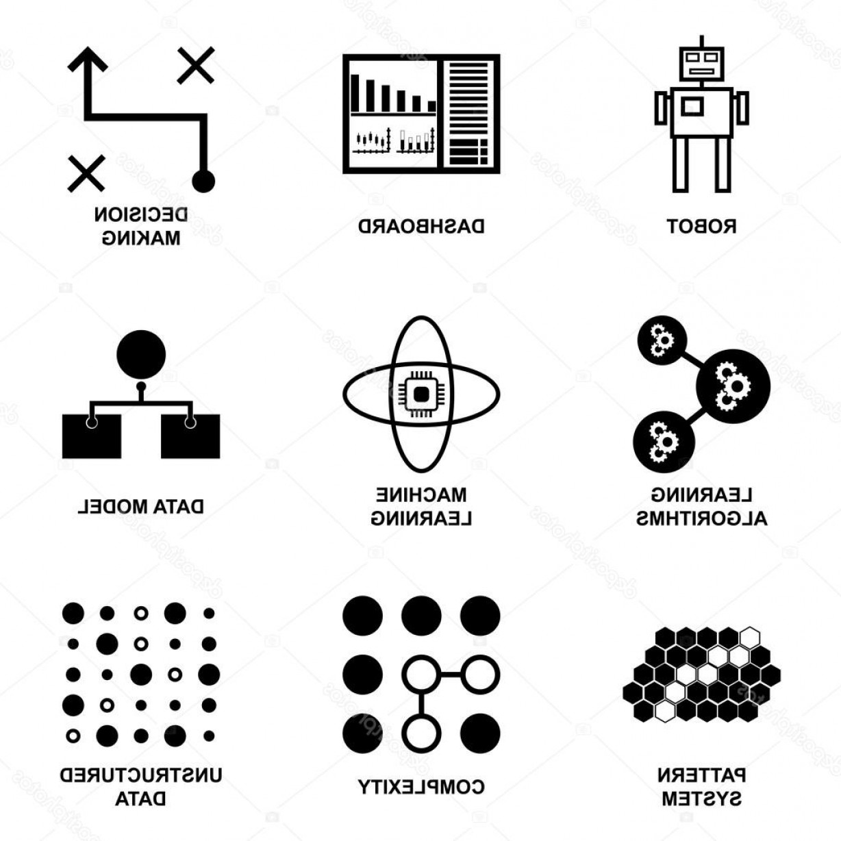 Vector Data Structure Complexity: Stock Illustration Modern Web Symbol Collection Of