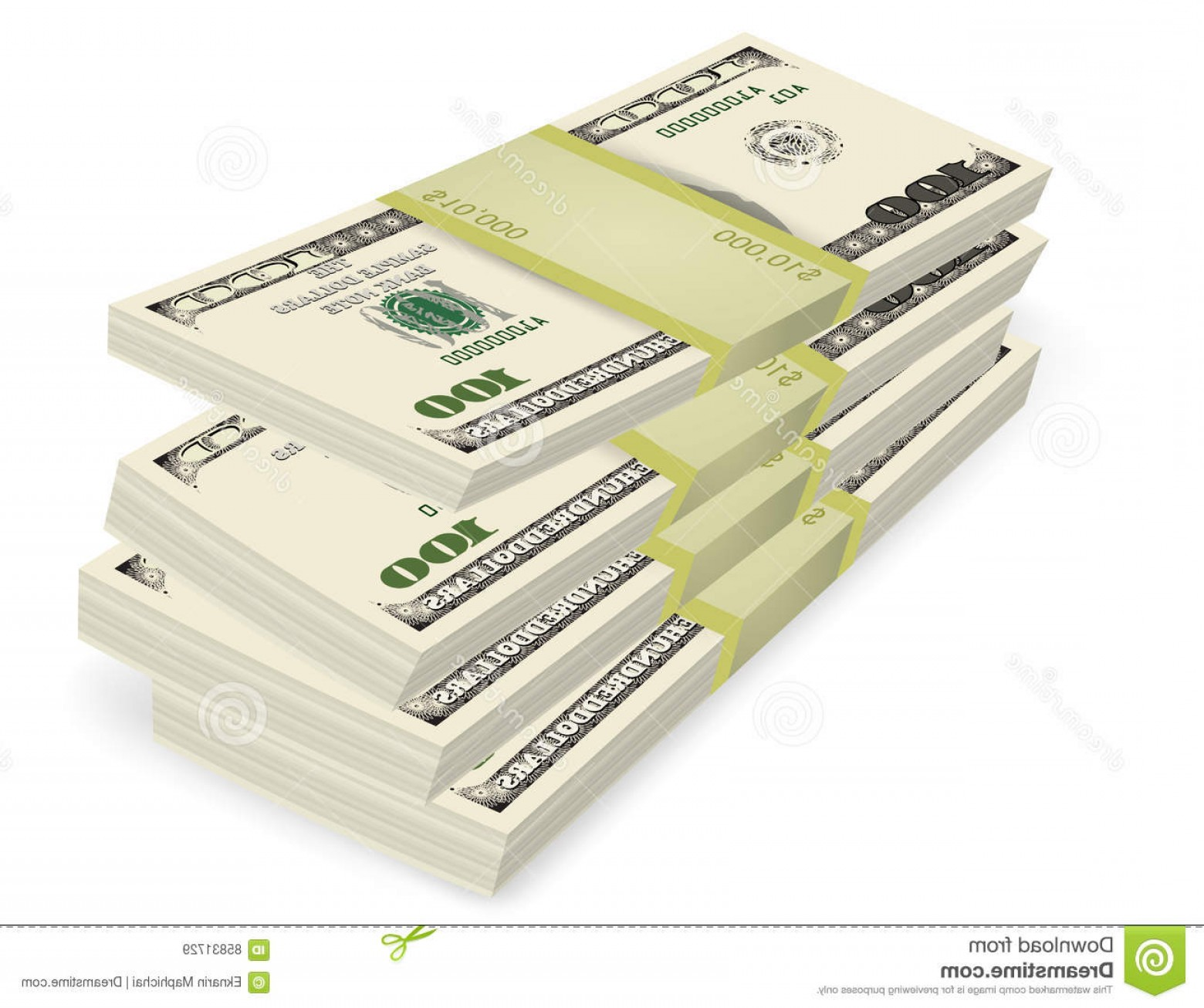 Hundreds Of Money Stacks Vector: Stock Illustration Money Stack Vector Business Financial Concepts White Background Image