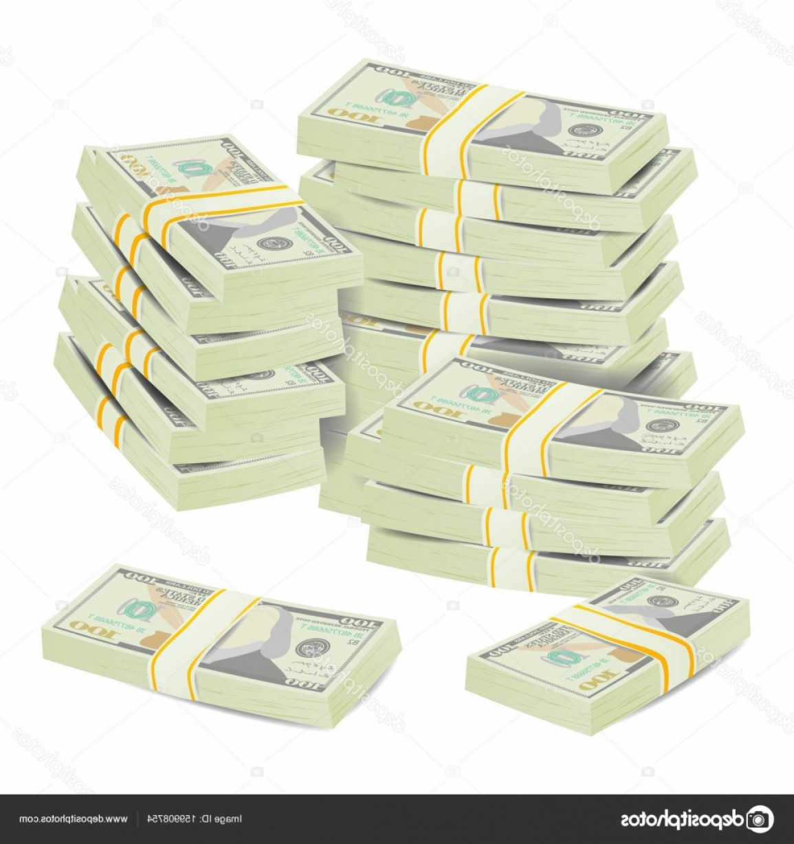 Hundreds Of Money Stacks Vector: Stock Illustration Money Stacks Vector Realistic Concept